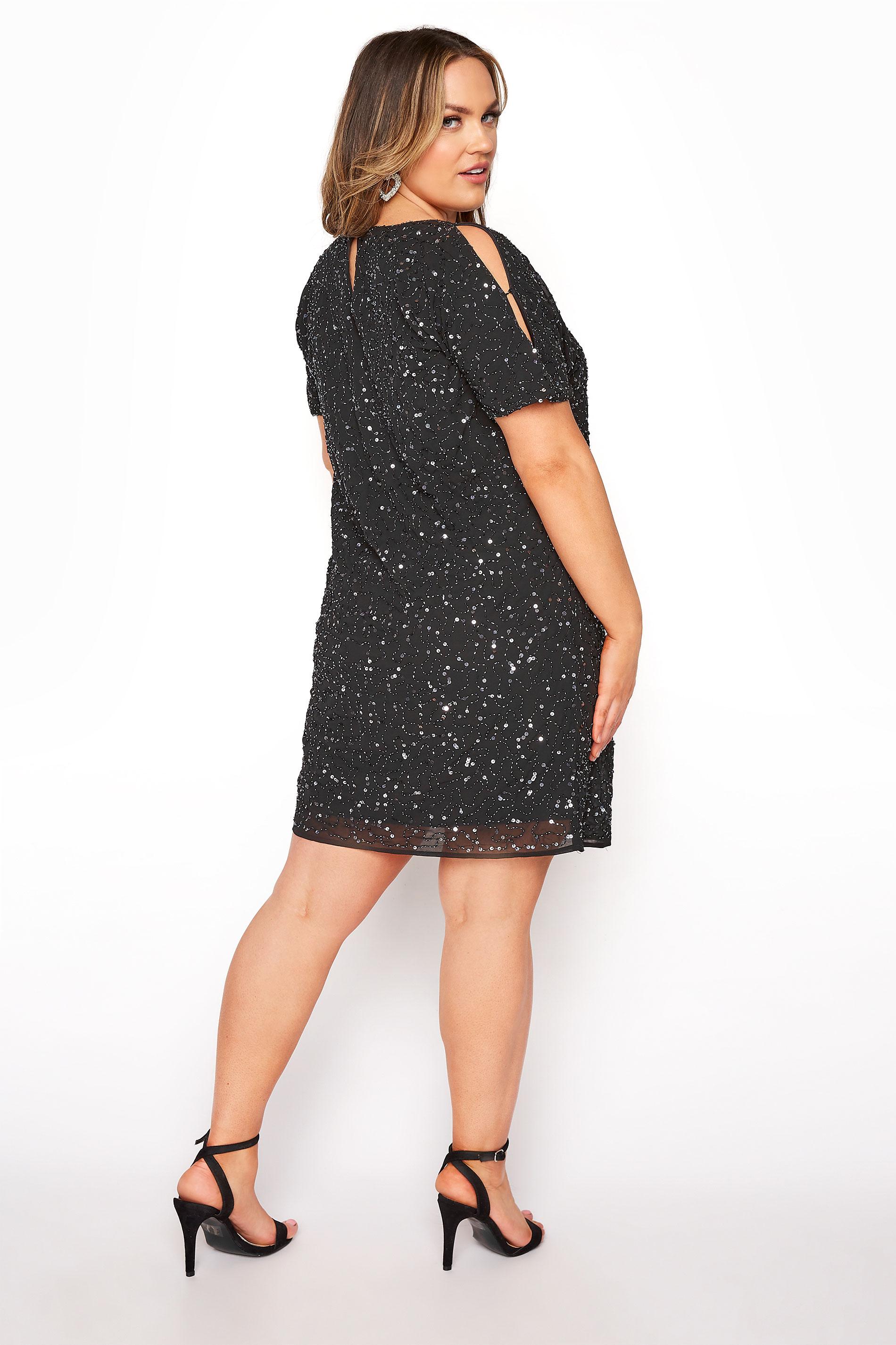 LUXE Black Sequin Cold Shoulder Cape Dress, plus size 16