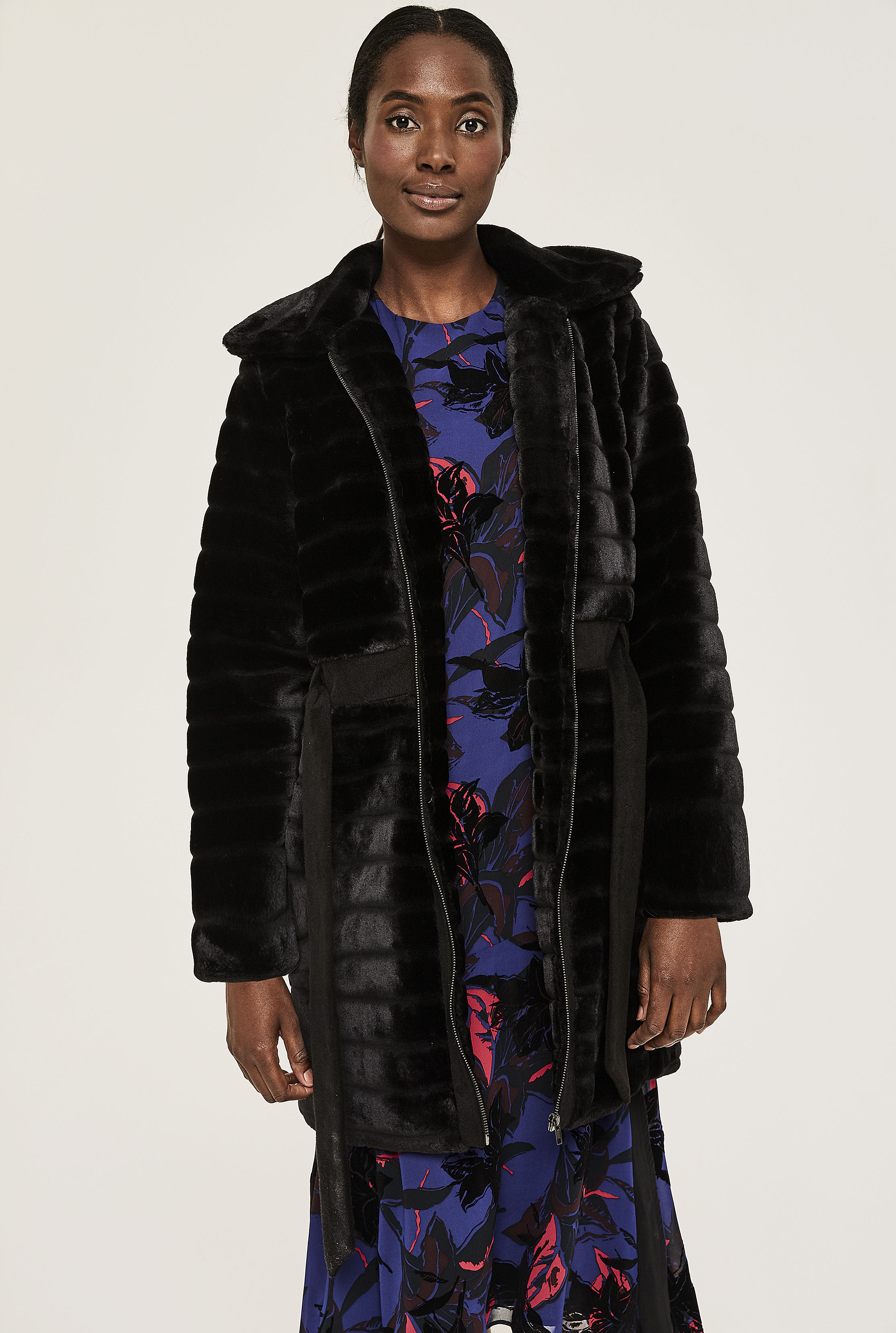 Y.A.S Black Tall Asala Faux Fur Coat