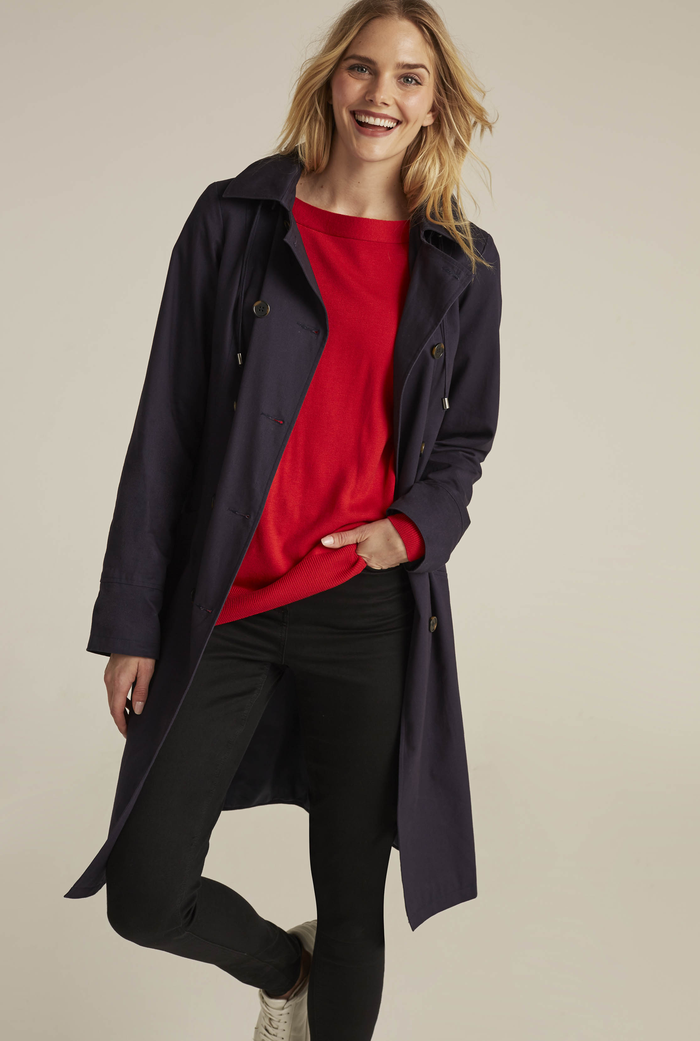 Navy Belted Longline Trench Coat