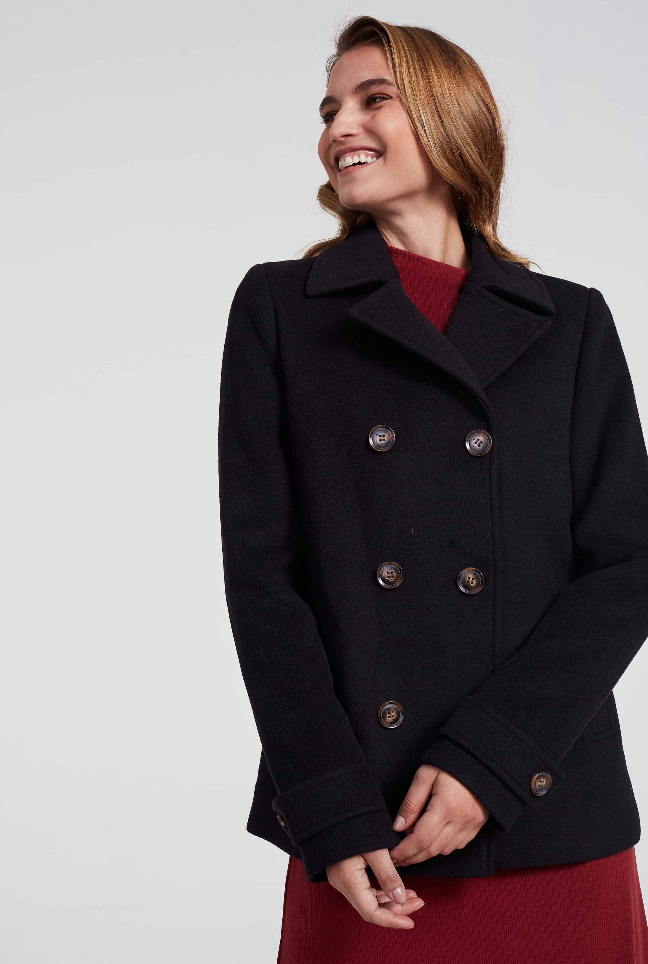 Black Wool Double Breasted Pea Coat
