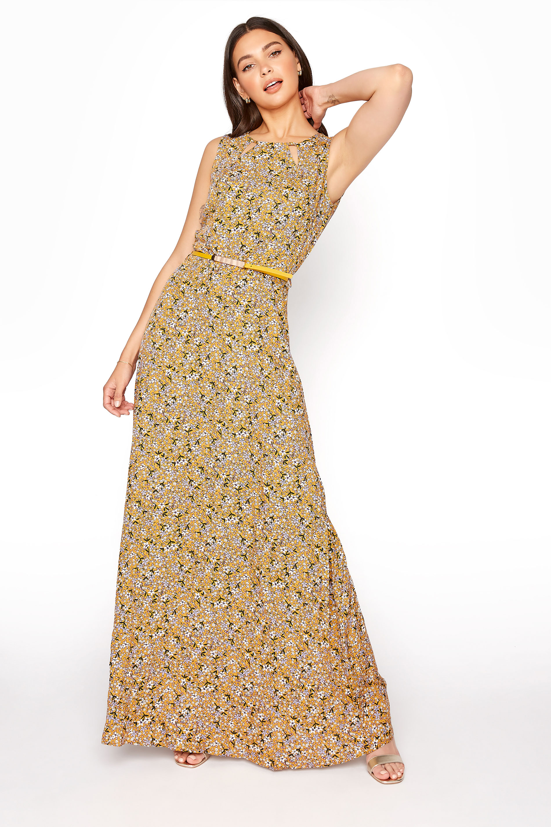 LTS Yellow Ditsy Sleeveless Fitted Maxi Dress_A.jpg