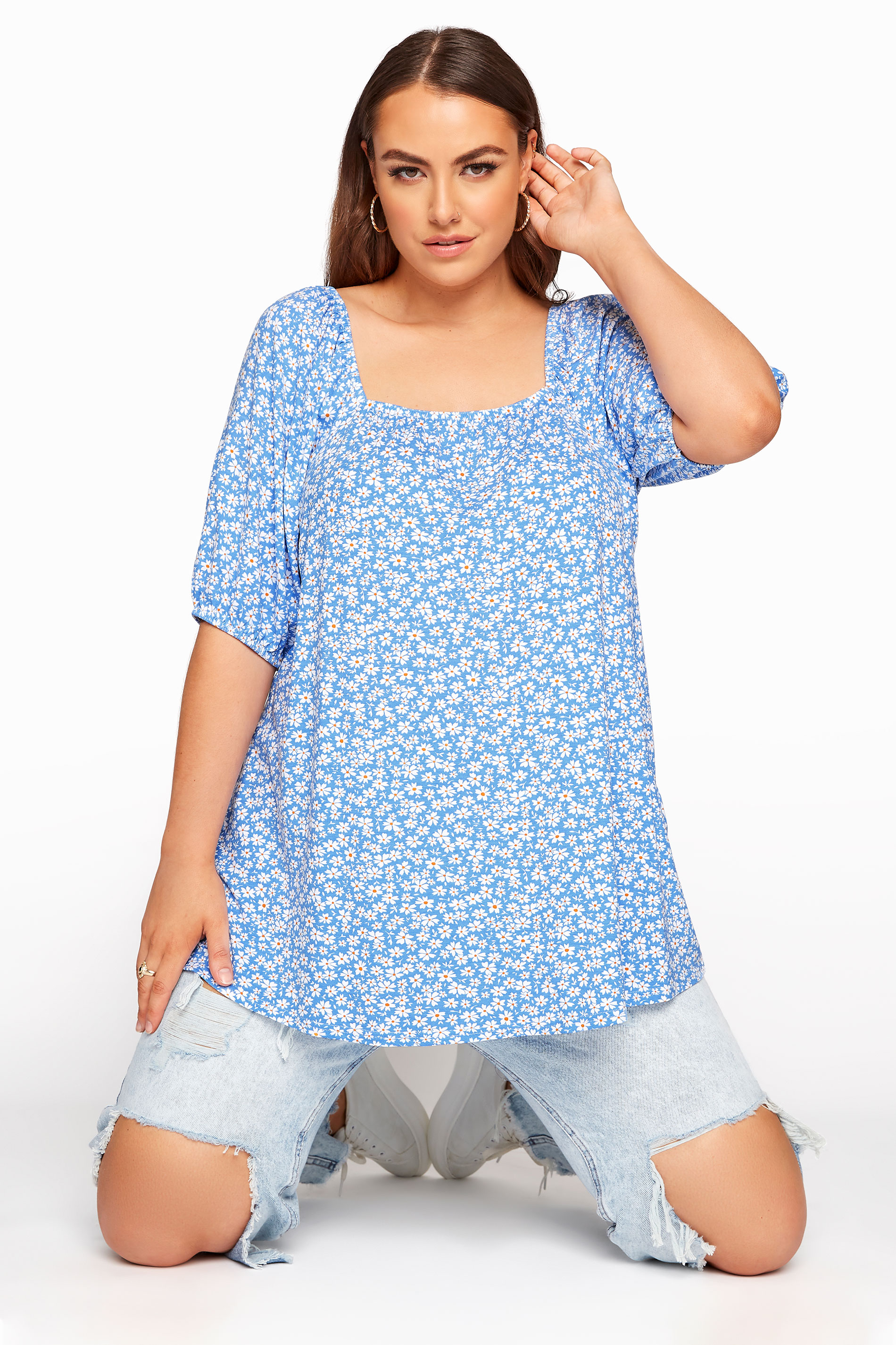 LIMITED COLLECTION Blue Daisy Square Neck Top