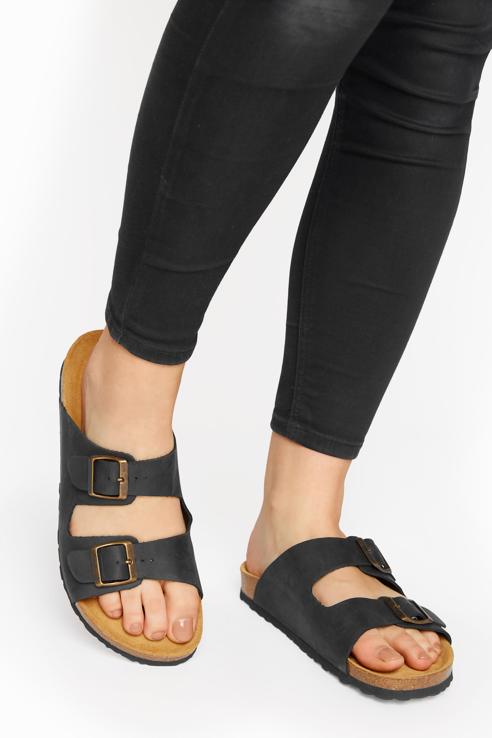 Black Leather Two Buckle Footbed Sandals
