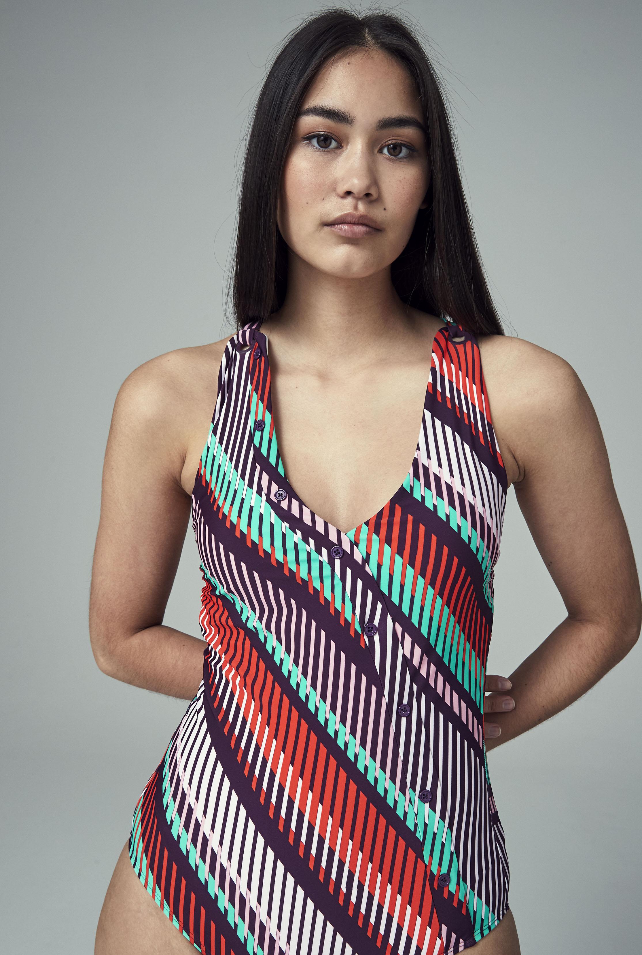 Multi Stripe Print Button Swimsuit