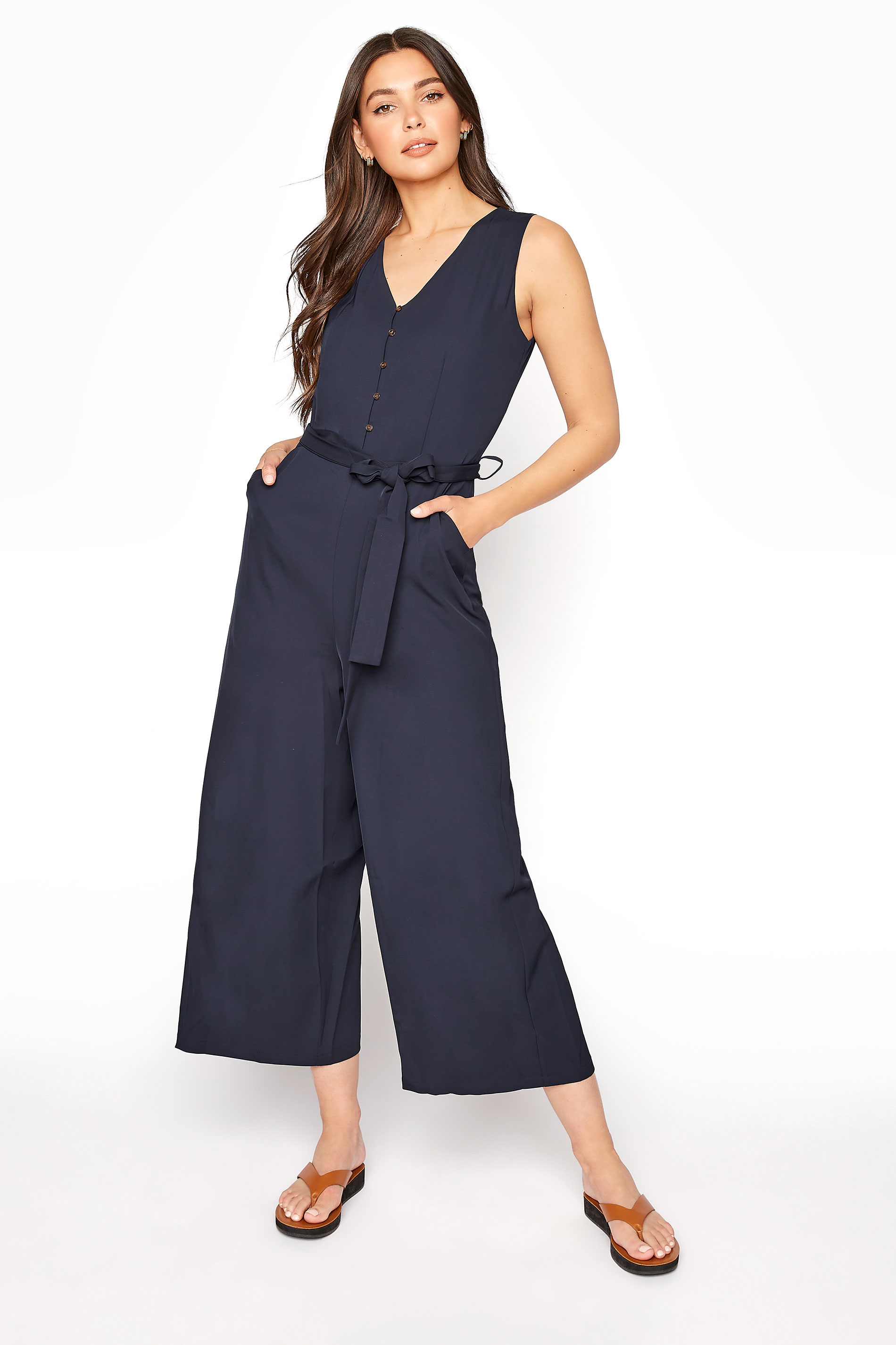 LTS Navy Button Belted Cropped Jumpsuit