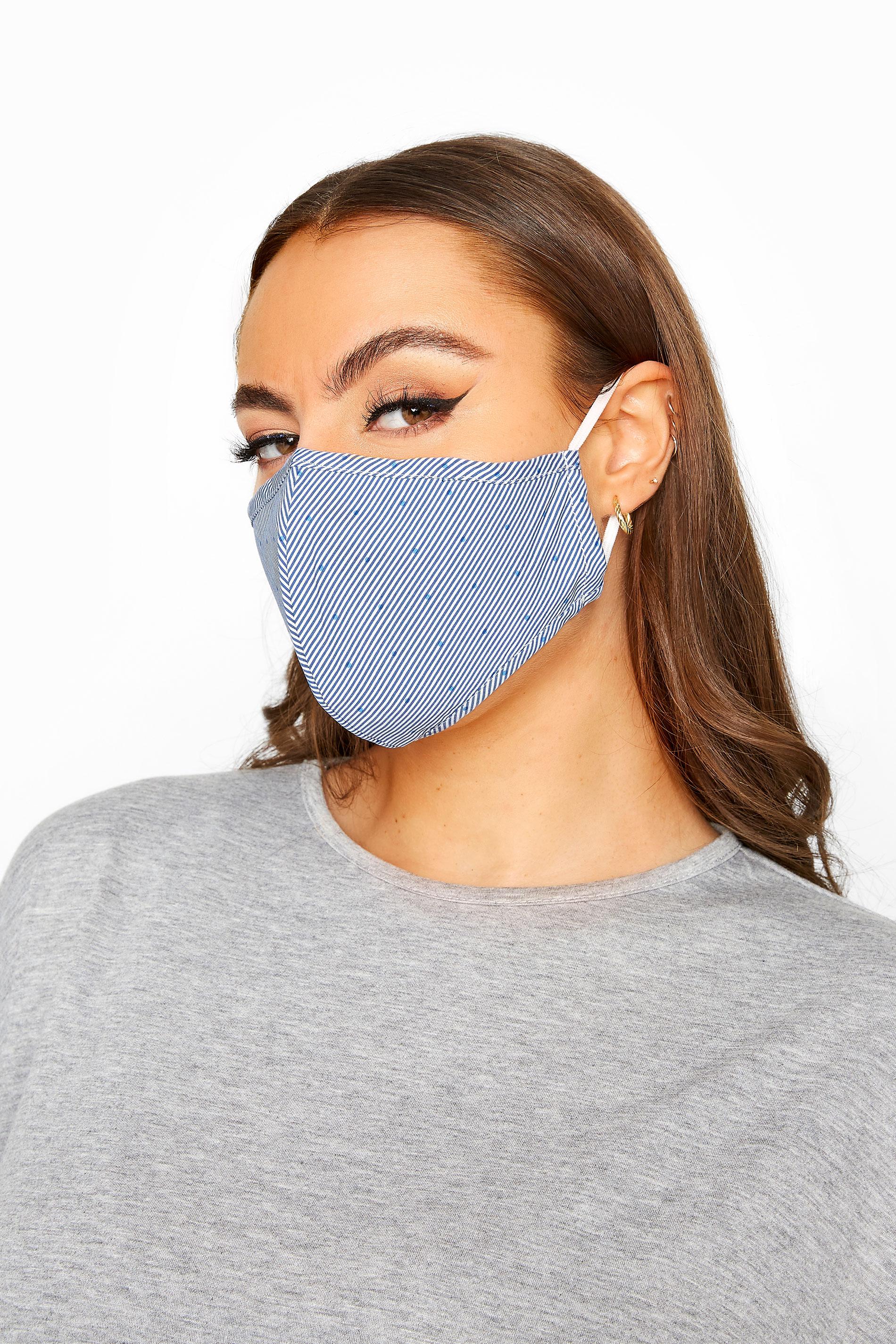 Blue Stripe Spot Antibacterial Face Mask_A.jpg