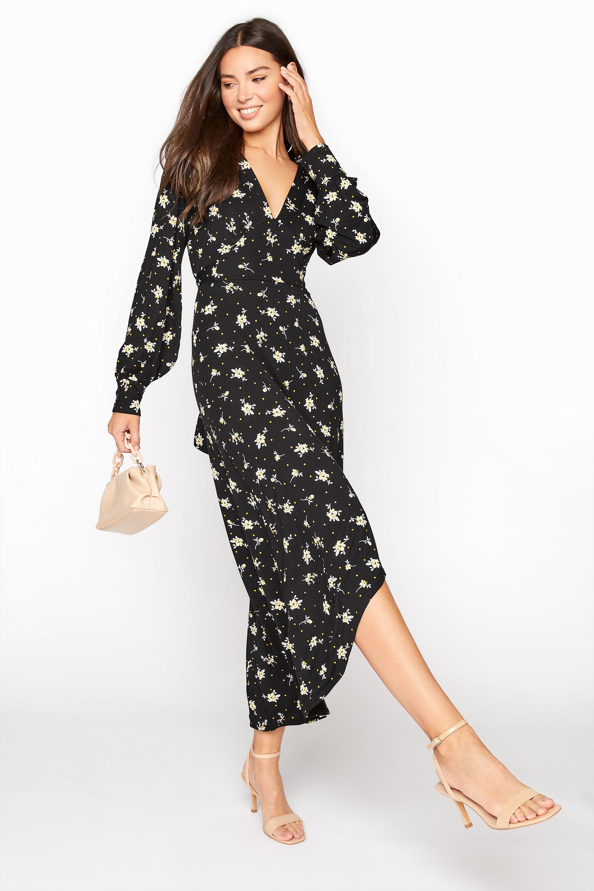 LTS Black Floral Print Hanky Hem Midaxi Dress