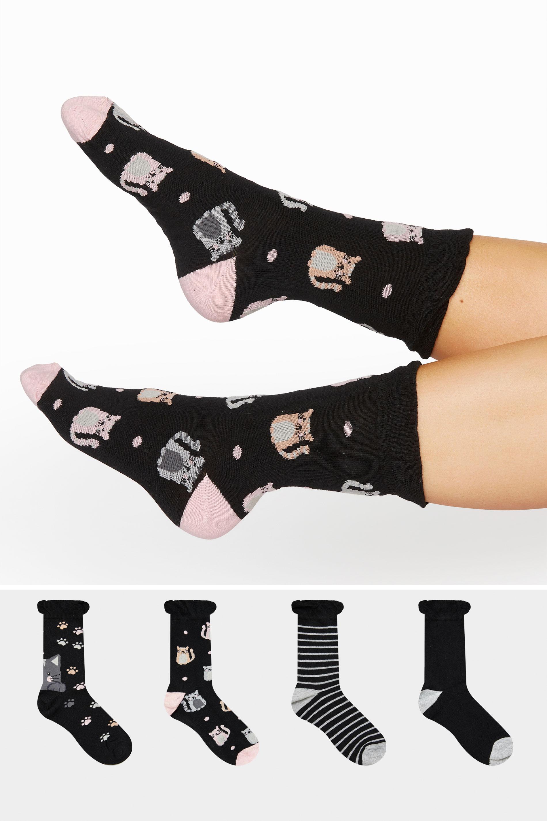 4 PACK Black Cat Ankle Socks