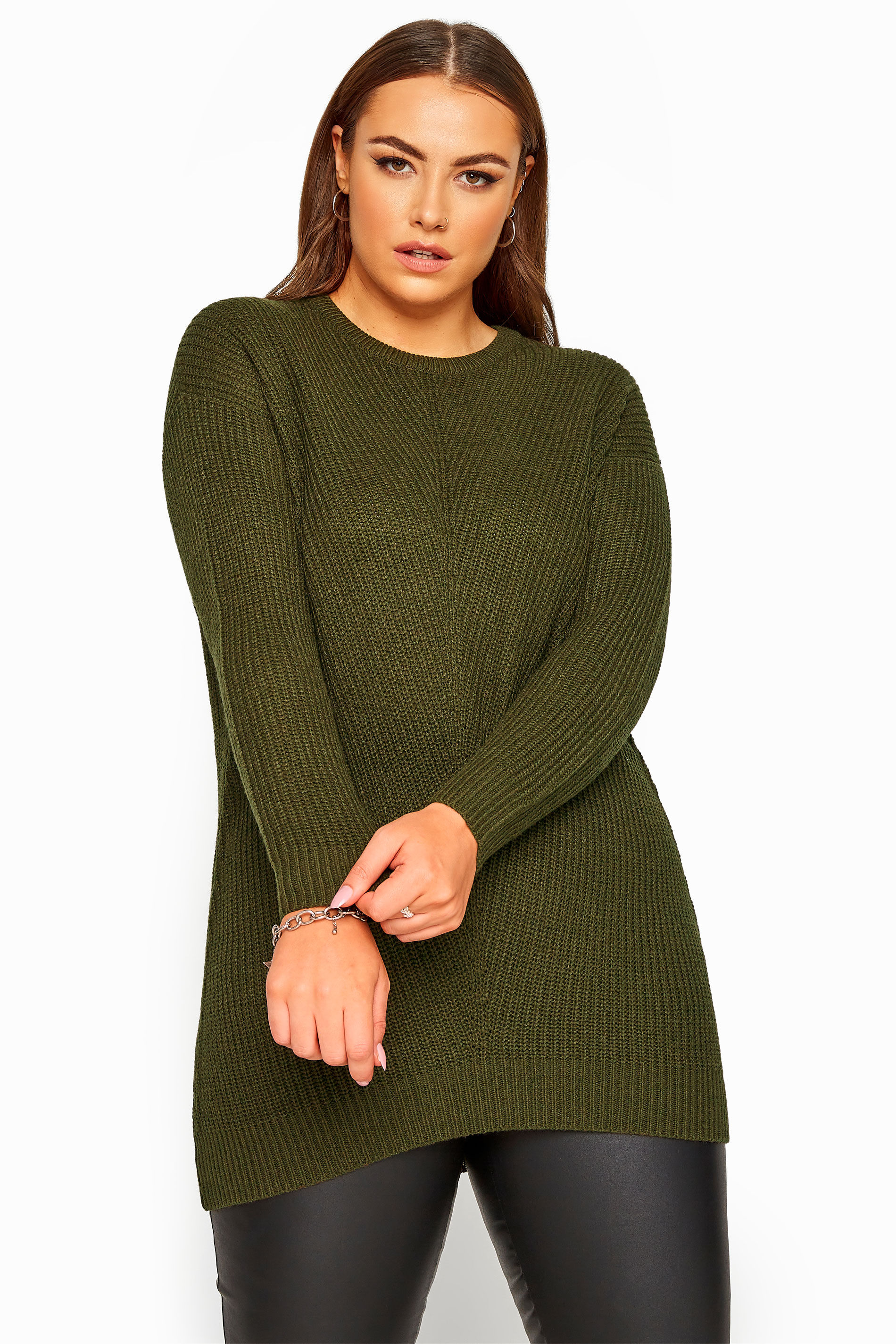Khaki Green Chunky Knitted Jumper