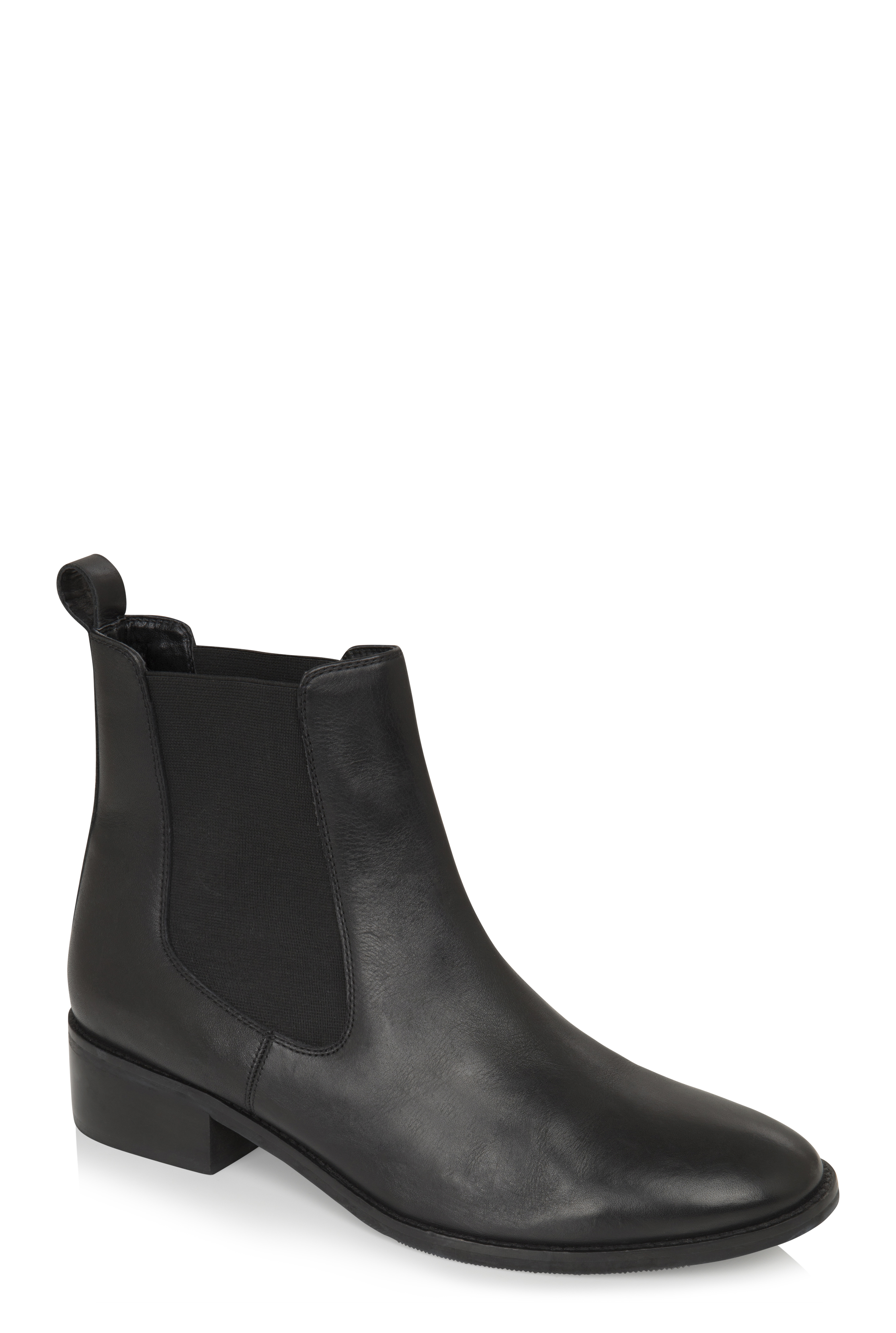 Black Gemma Leather Chelsea Boots
