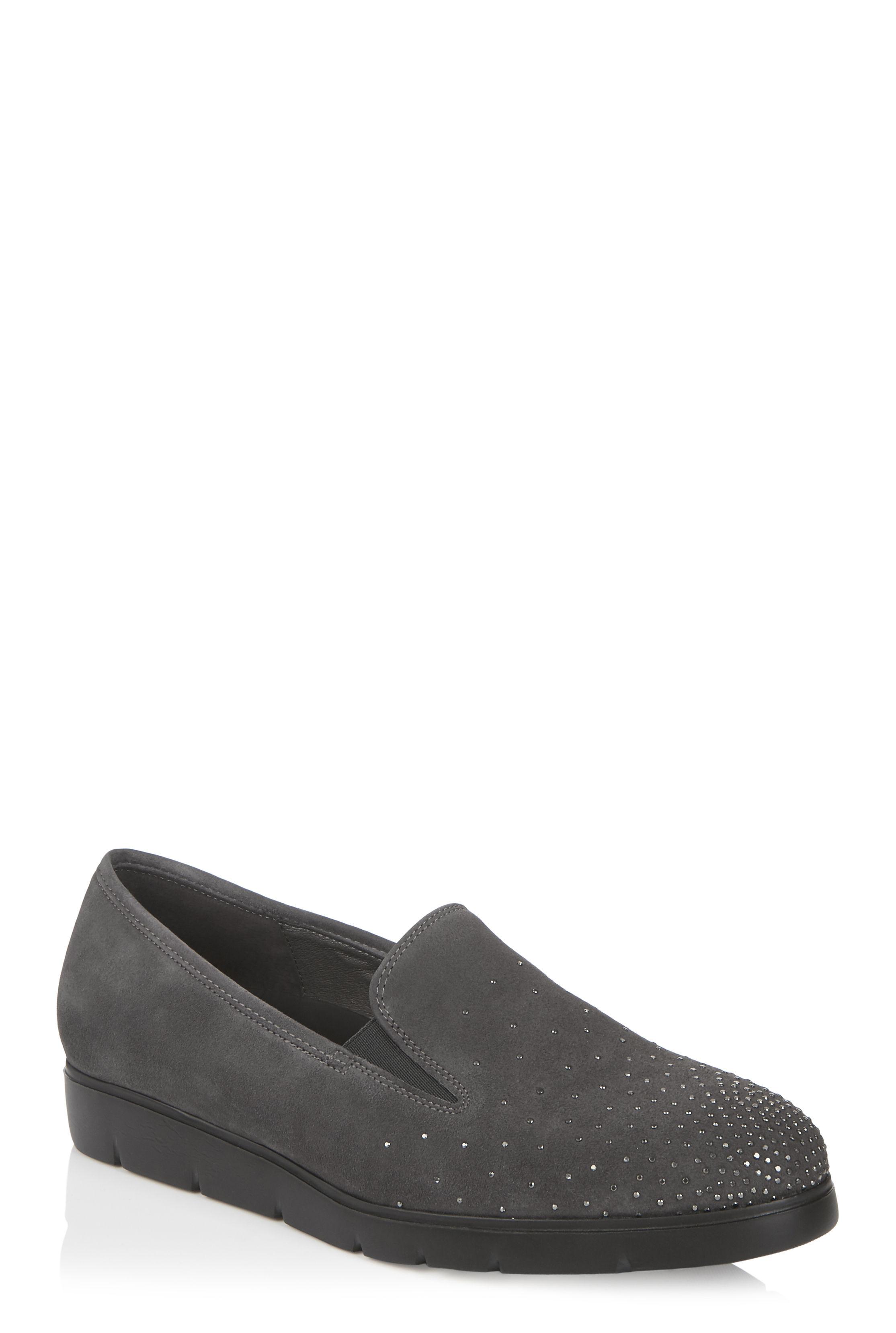 Grey Gabor Studded Angela Flat