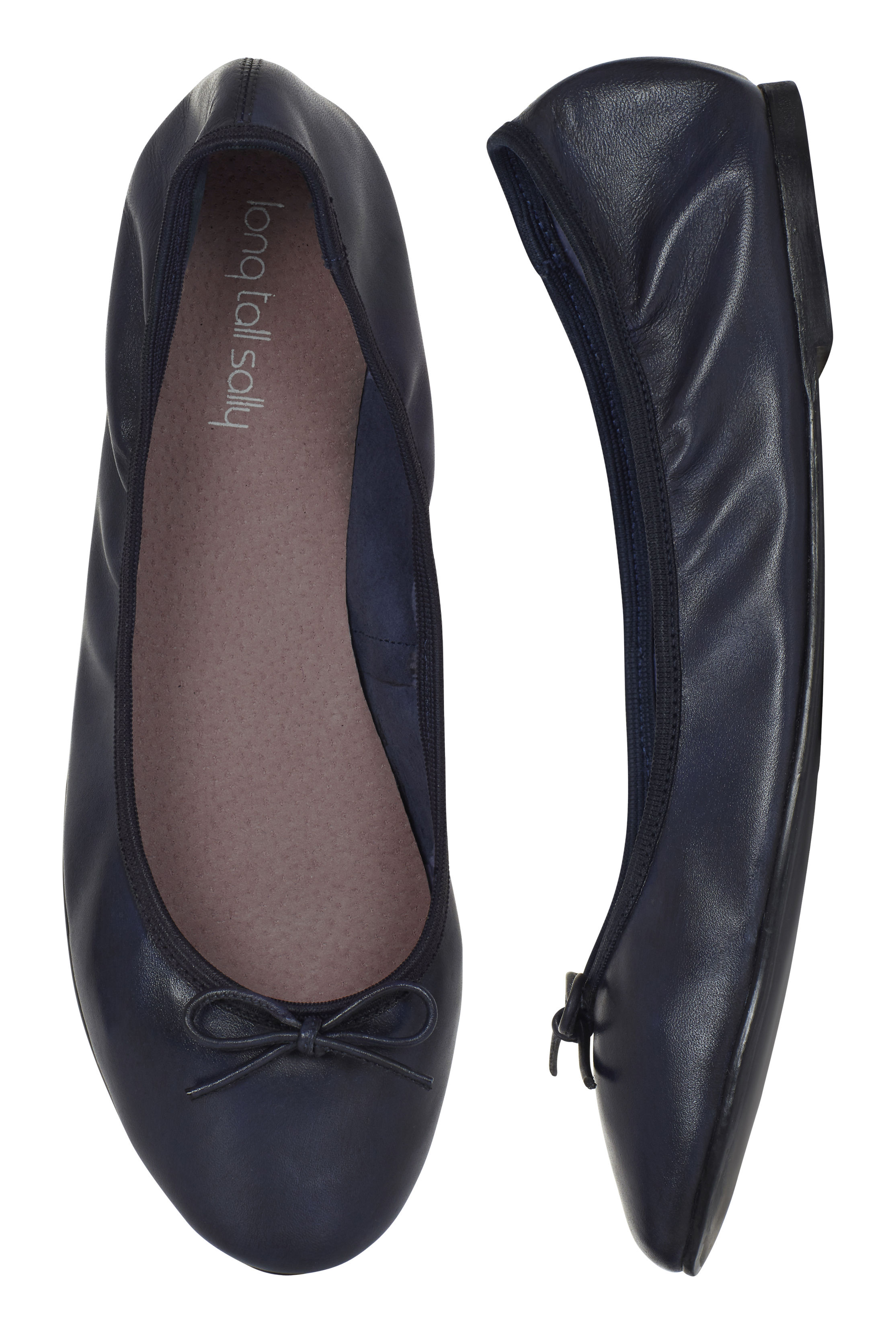 Sal Navy Supersoft Leather Ballerinas