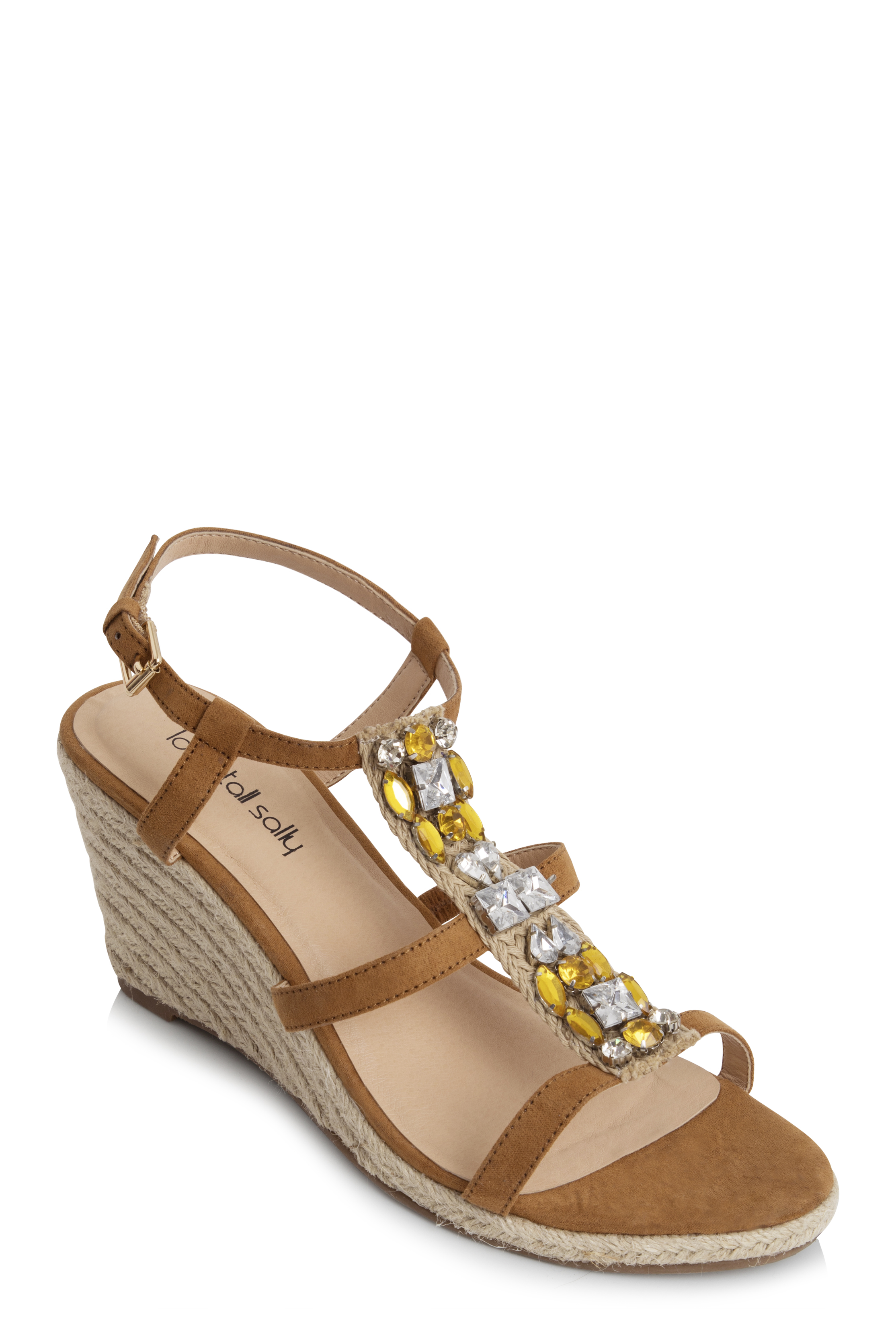 Brown Jewelled Strappy Wedges