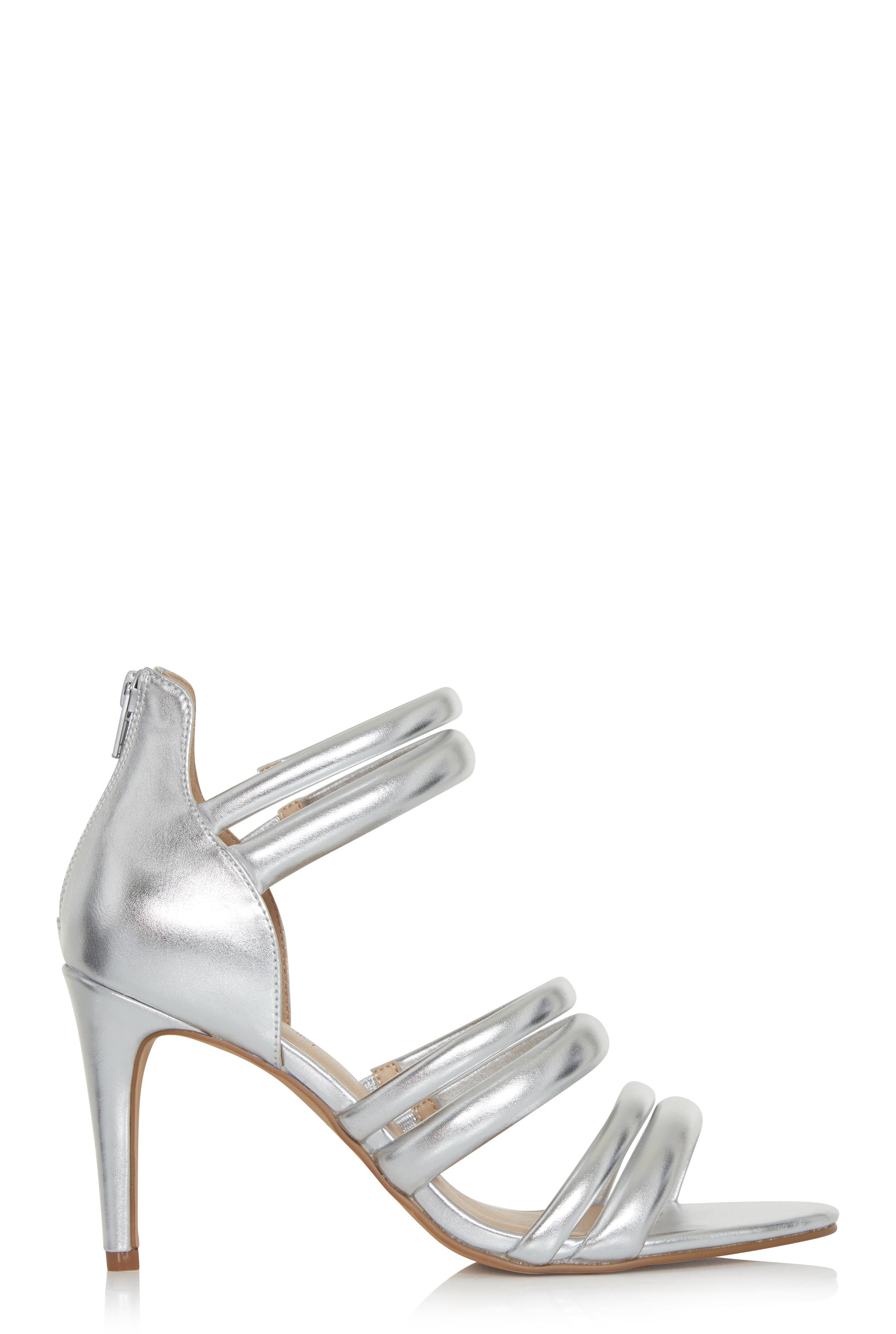 LTS Silver Rosetta Strappy Heels