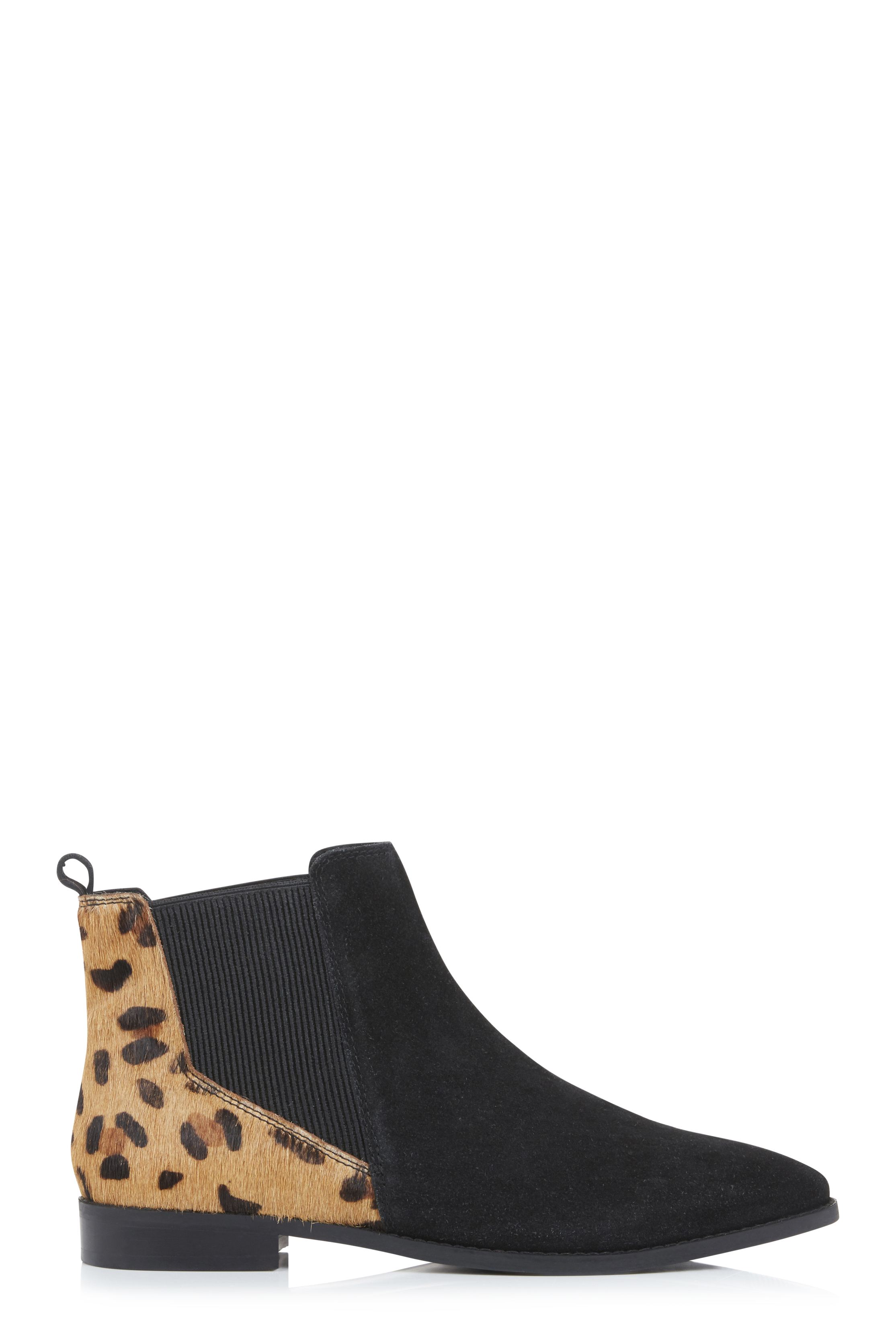Black Leopard Print Leather Chelsea Boots