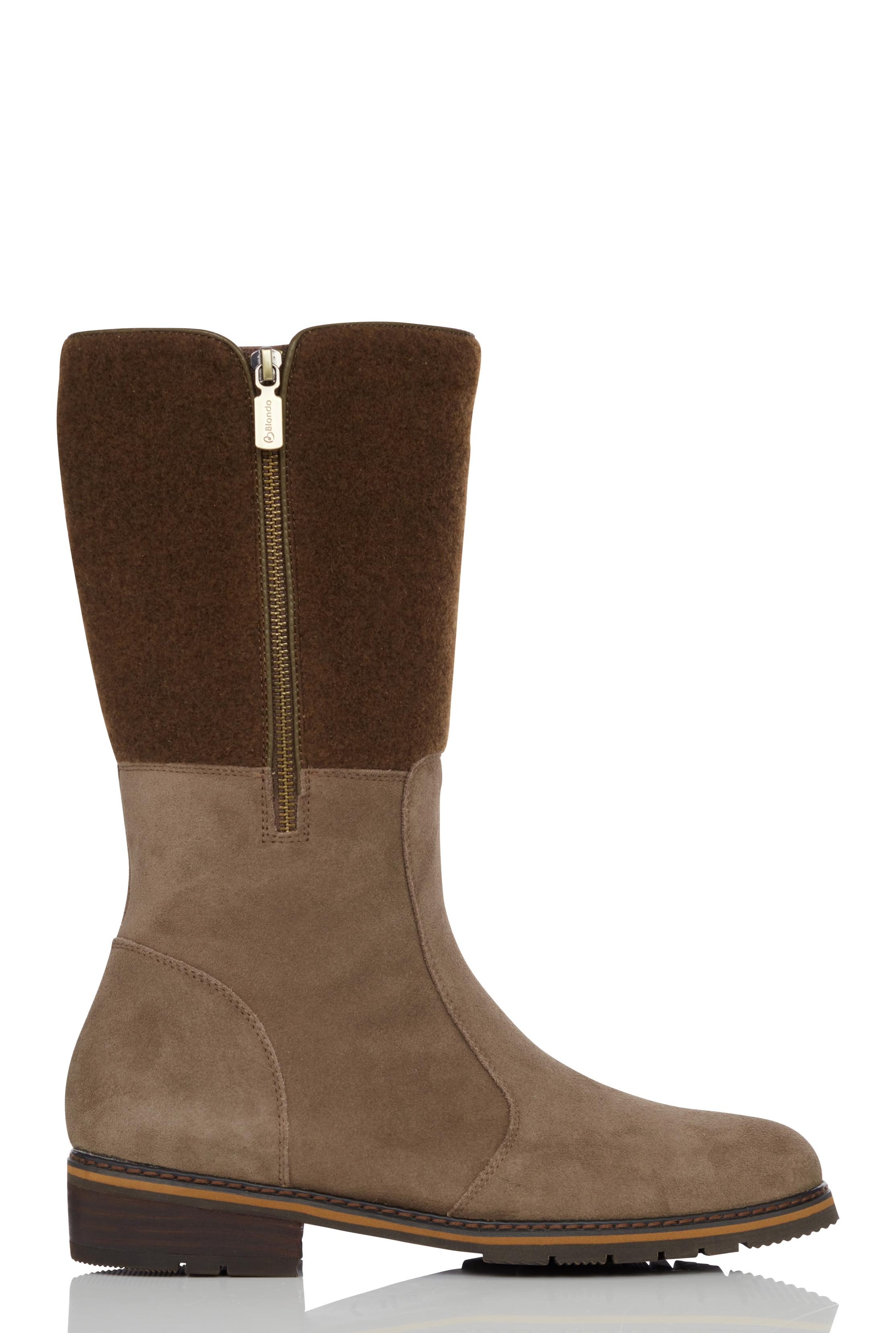 BLONDO Brown Suede Zip Winter Boot