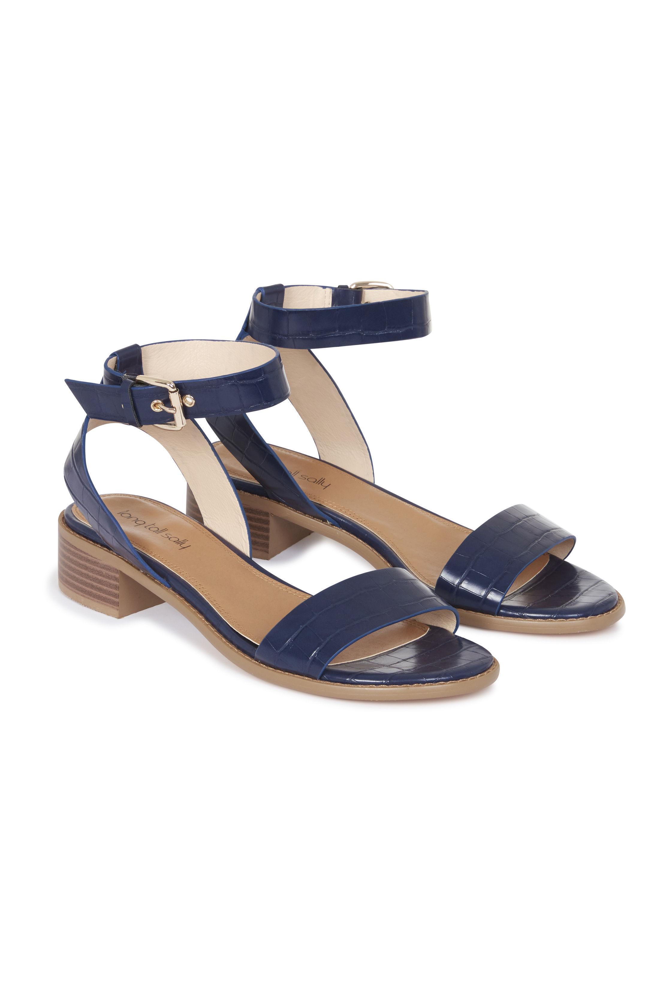 Navy Shruti Two Part Block Heel Sandals
