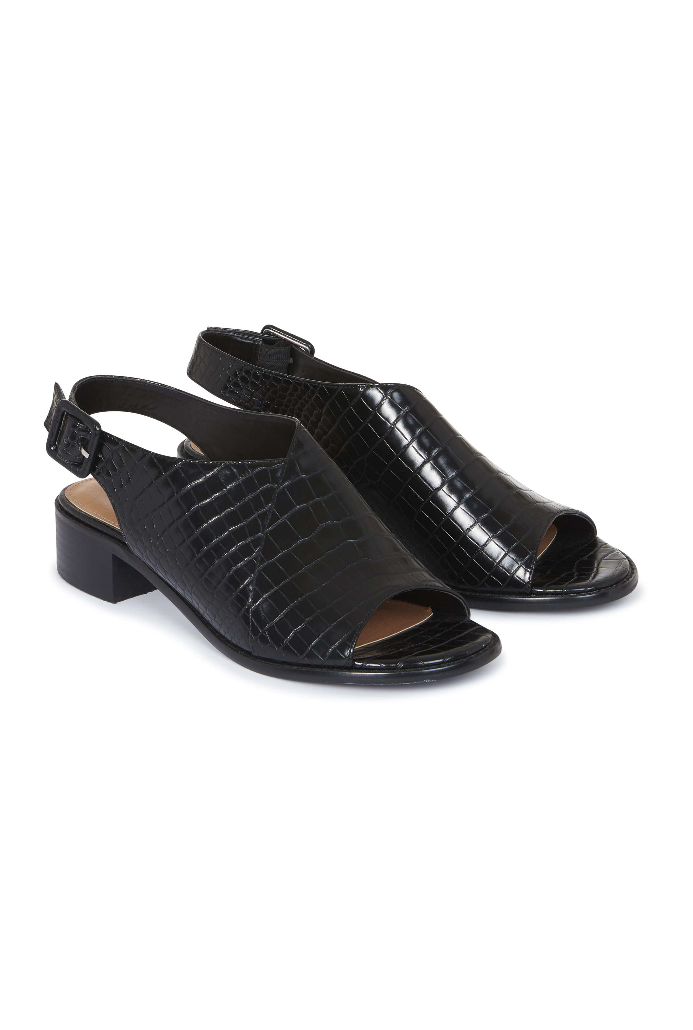 Black Croc Slingback Heeled Sandals