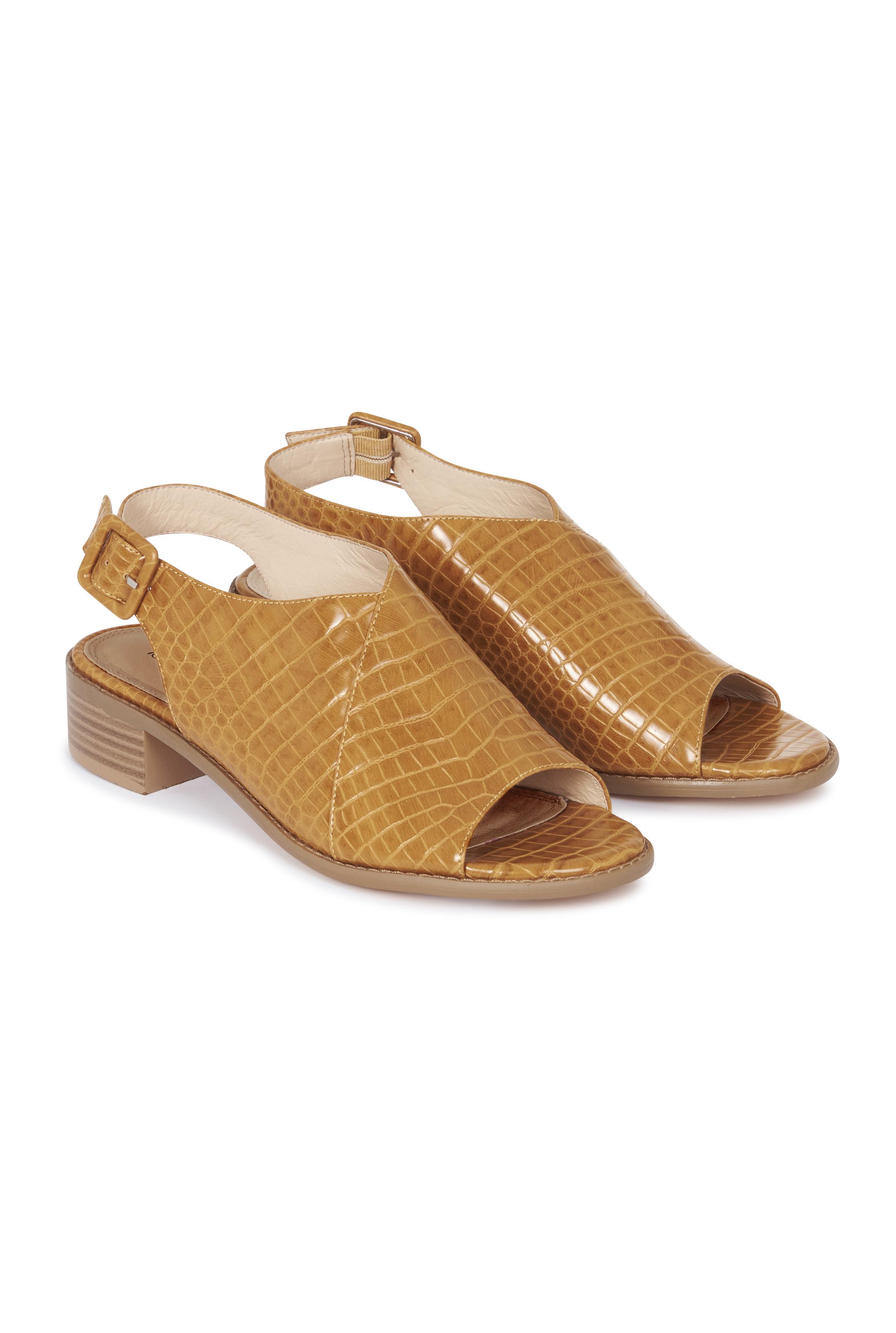 Mustard Yellow Croc Slingback Heeled Sandals