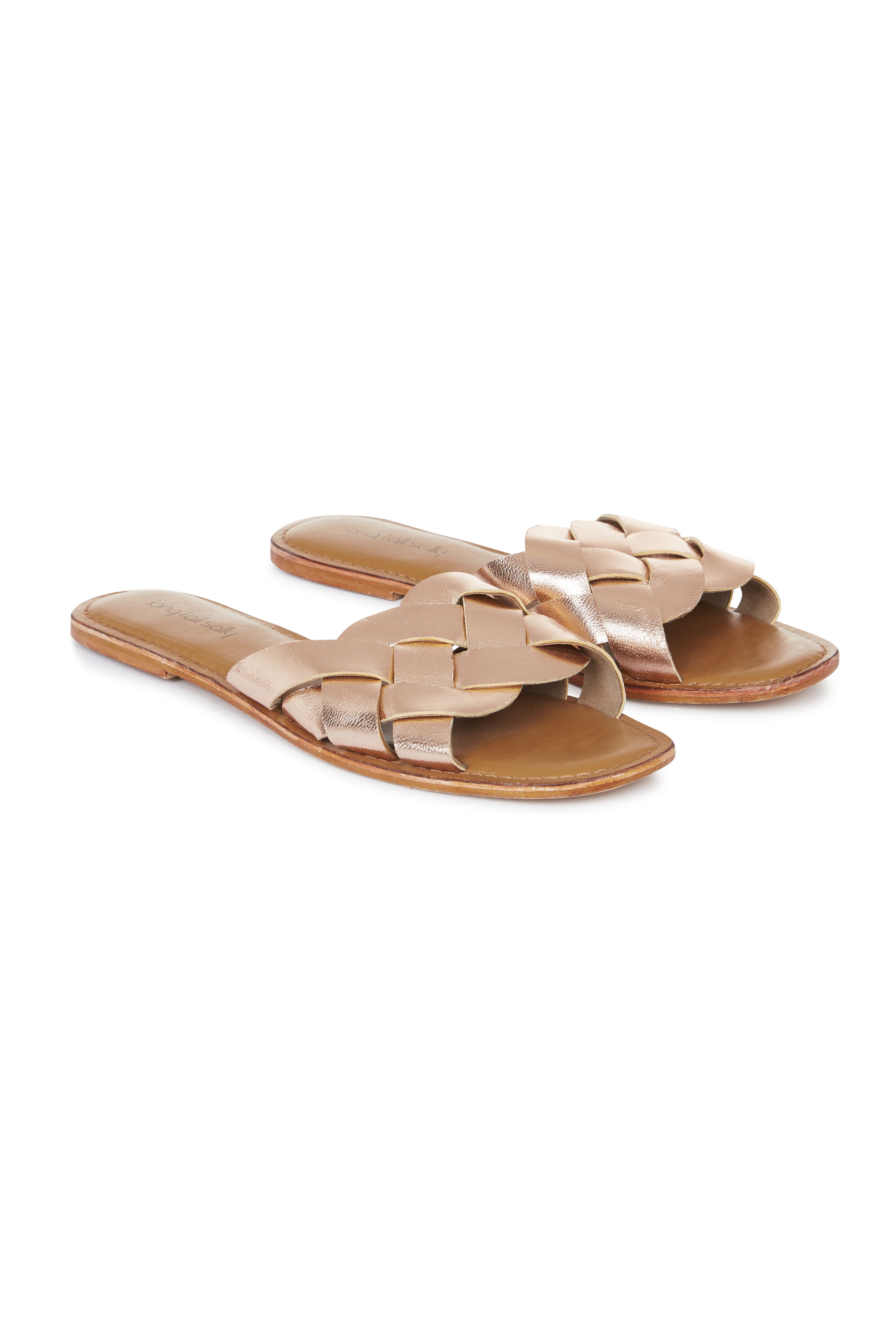 LTS Metallic Bella Leather Weave Slip On Sandal