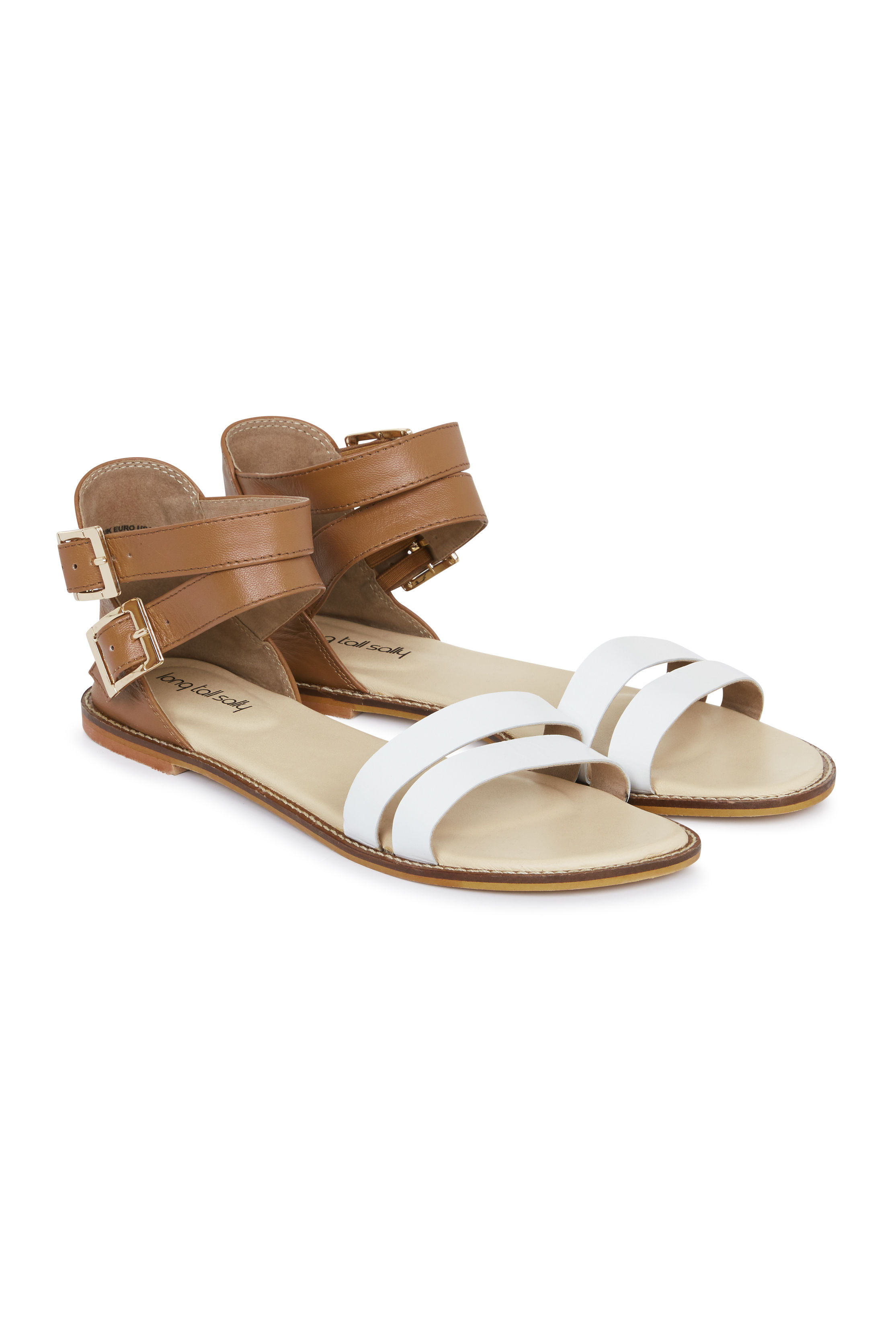 Brown and White Leather Gladiator Sandal