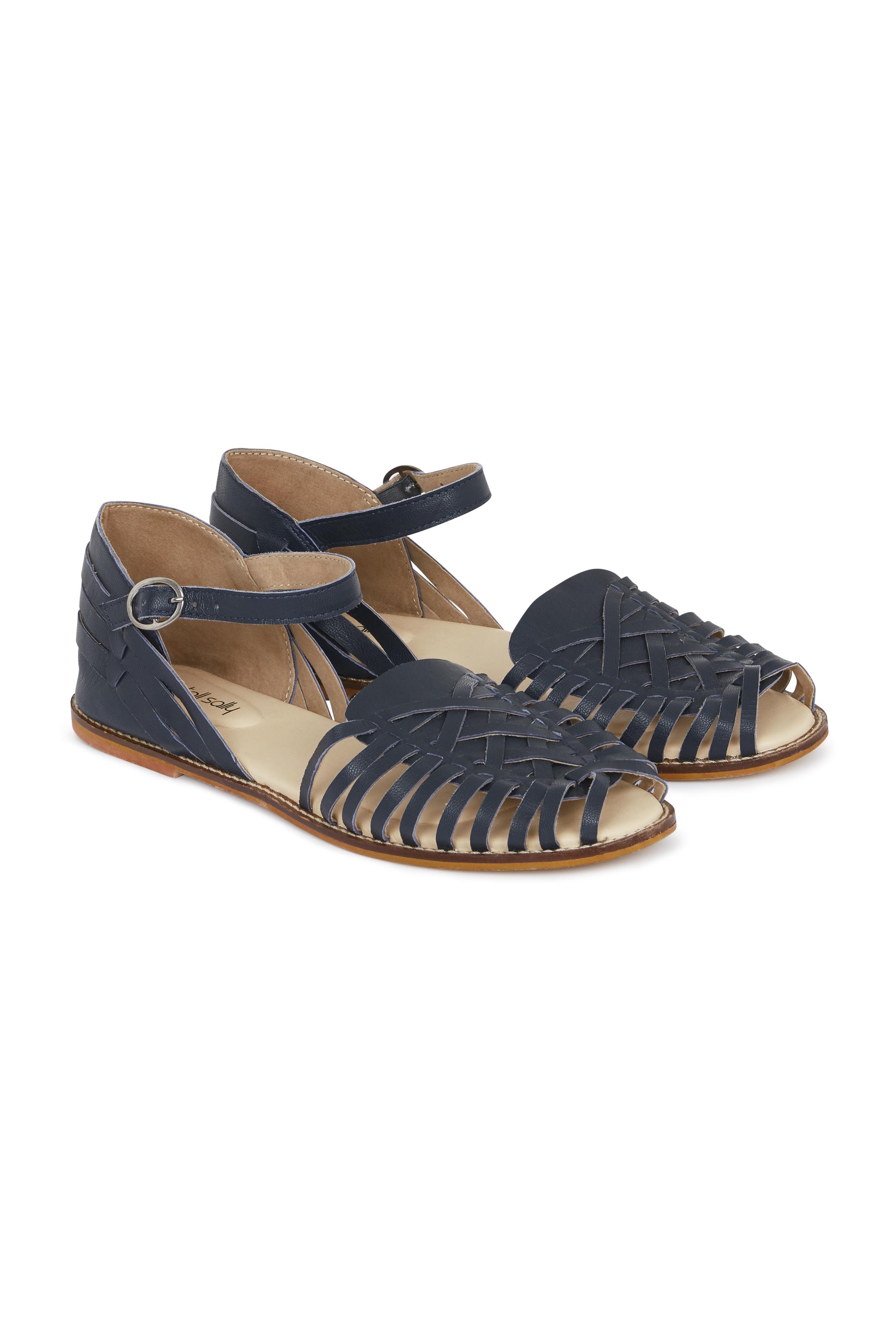 Navy Billie Leather Sandals