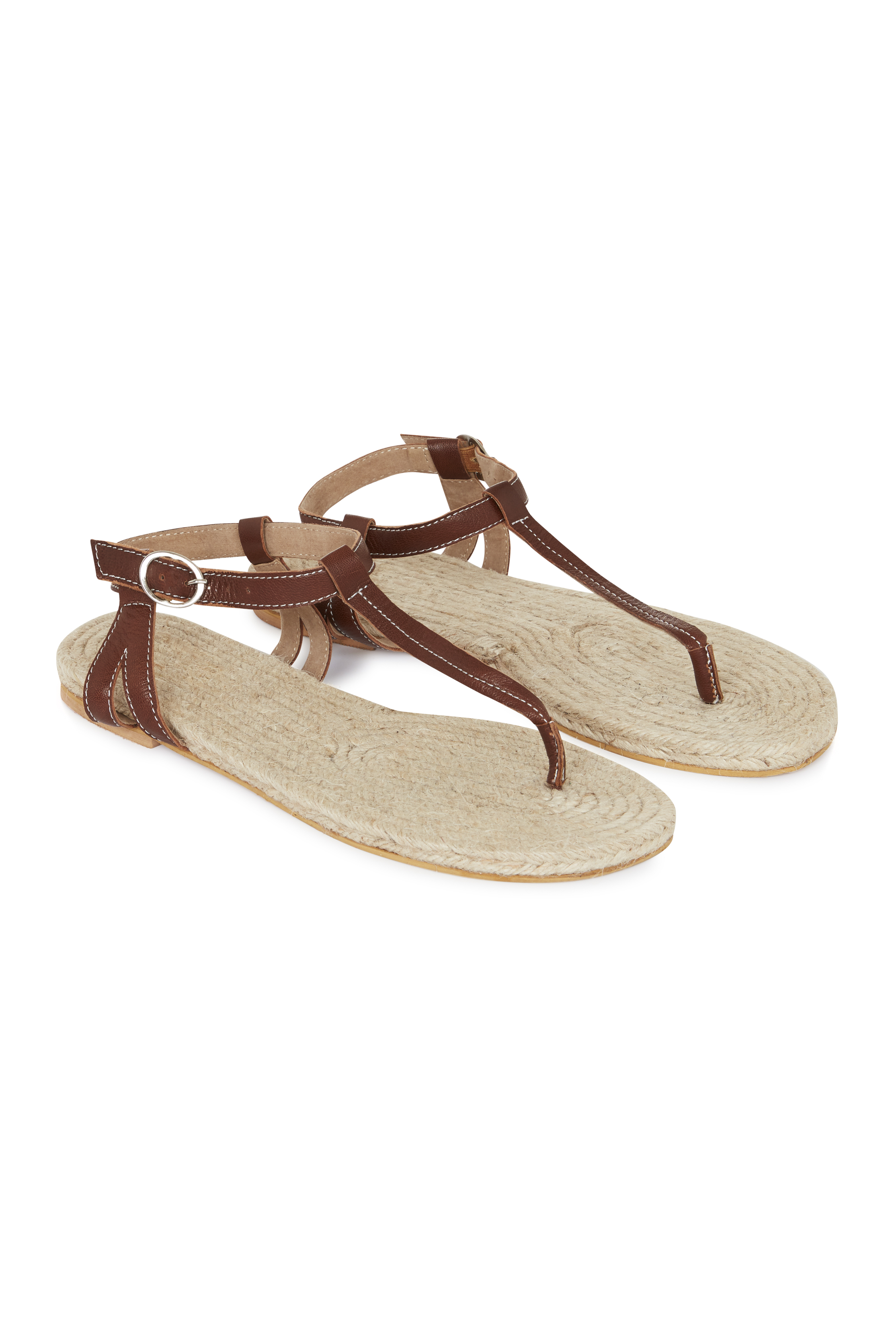 Tan Leather Jute Footbed T-Bar Sandal