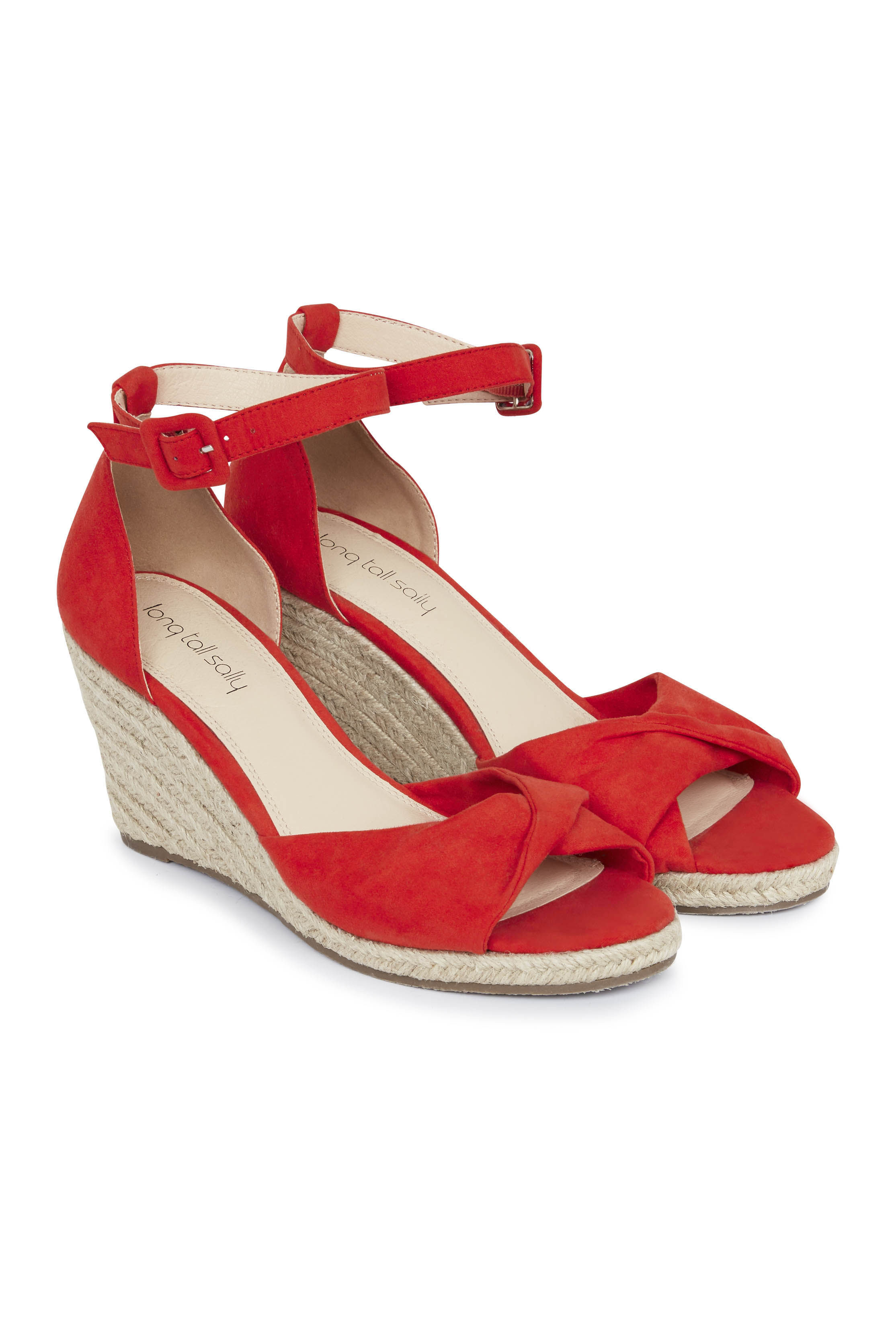 Red Nela Two Part Espadrille Wedge
