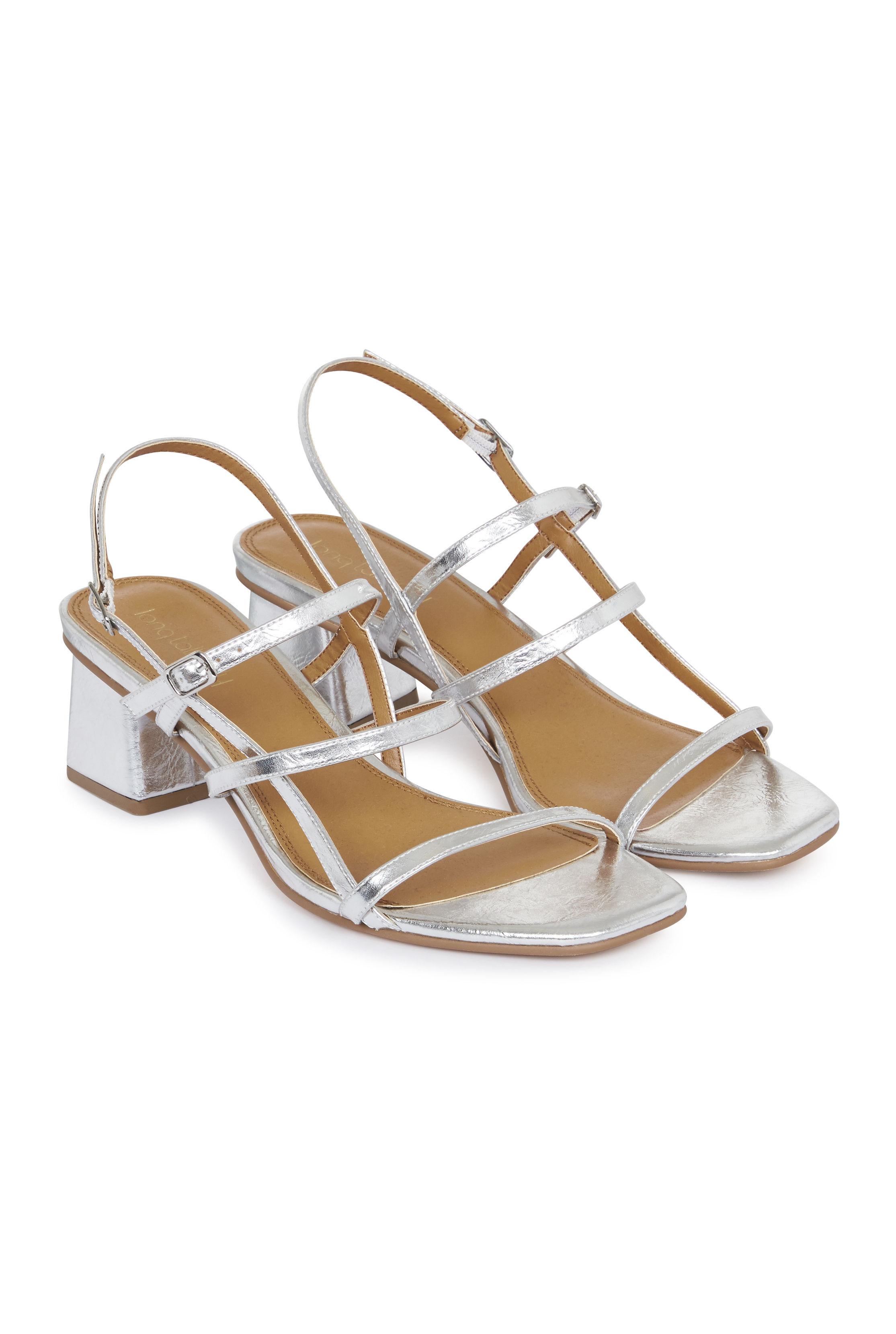 Silver Jodiene Strappy Mid Heel Sandal