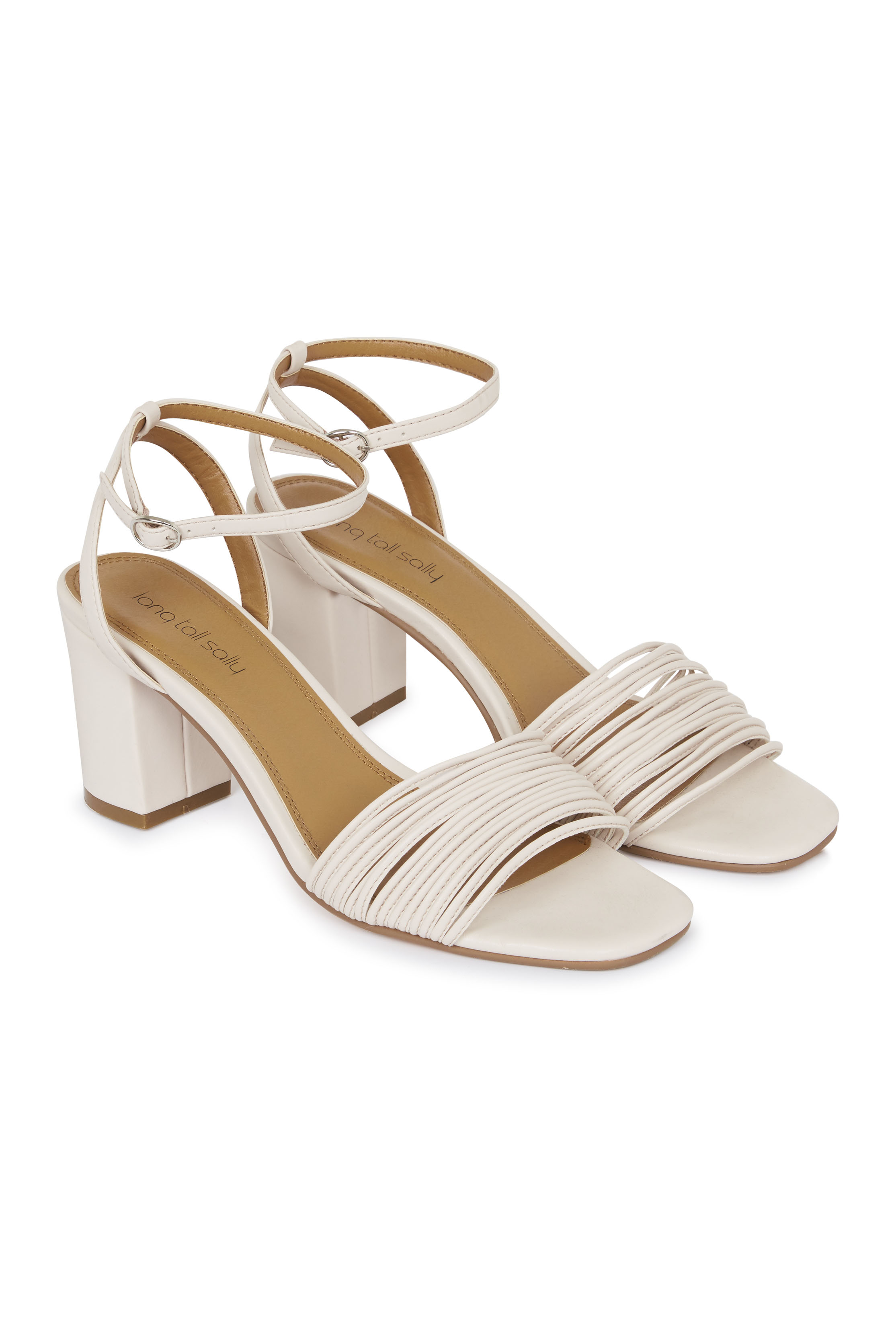 White Jenny Strappy Sandal Block Heel
