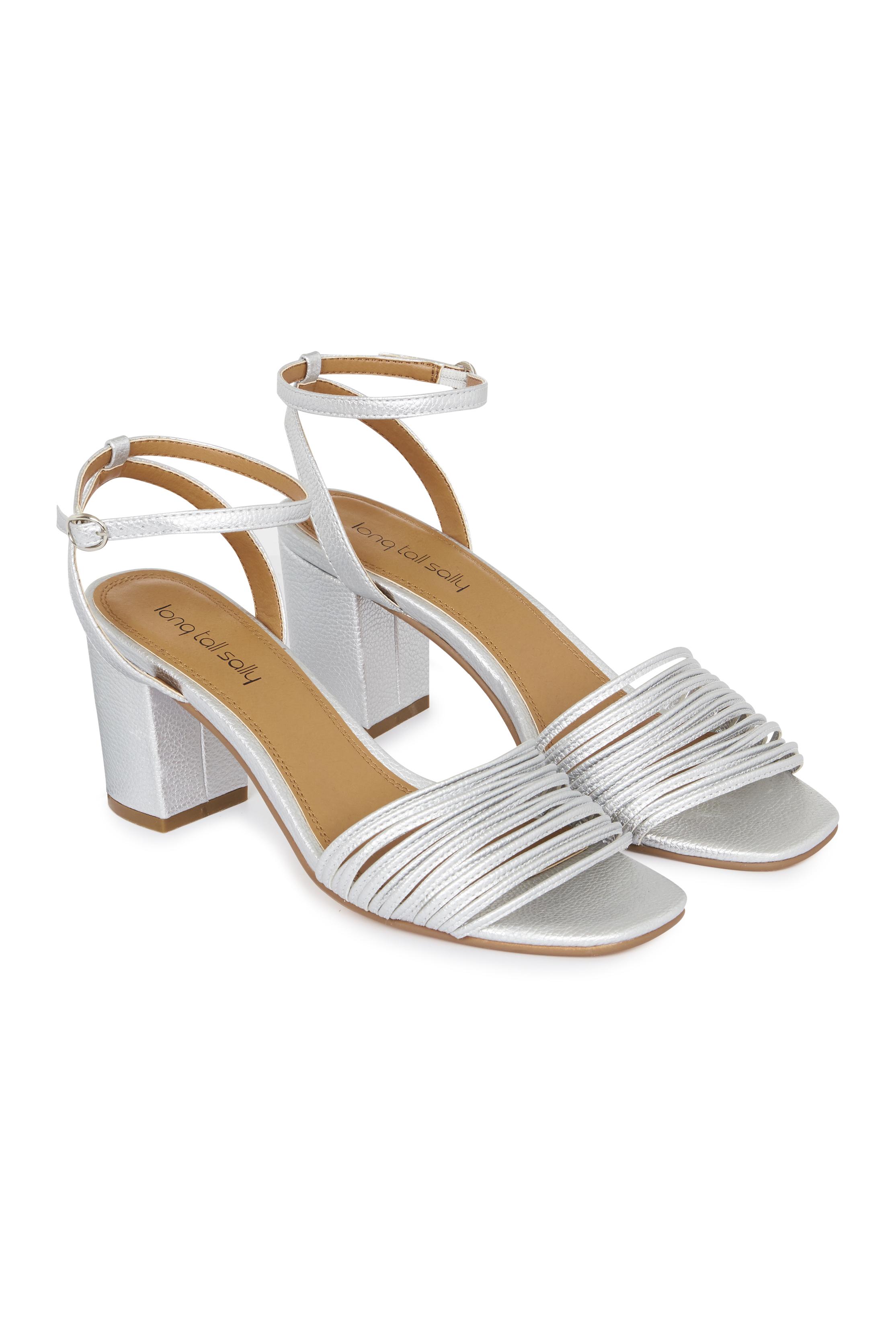 Silver Jenny Strappy Sandal Block Heel