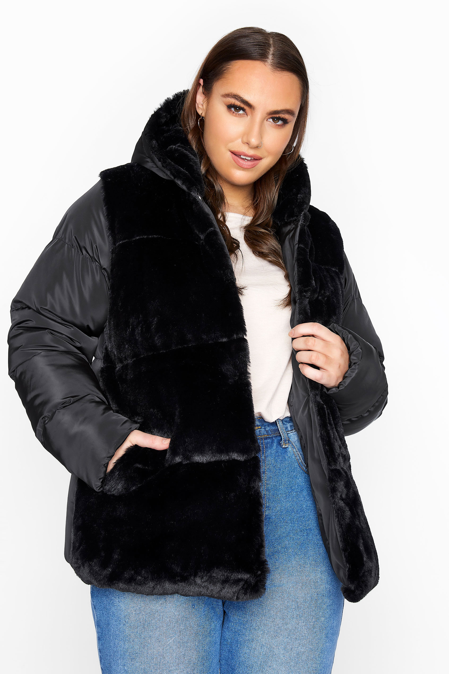 Black Faux Fur Padded Coat