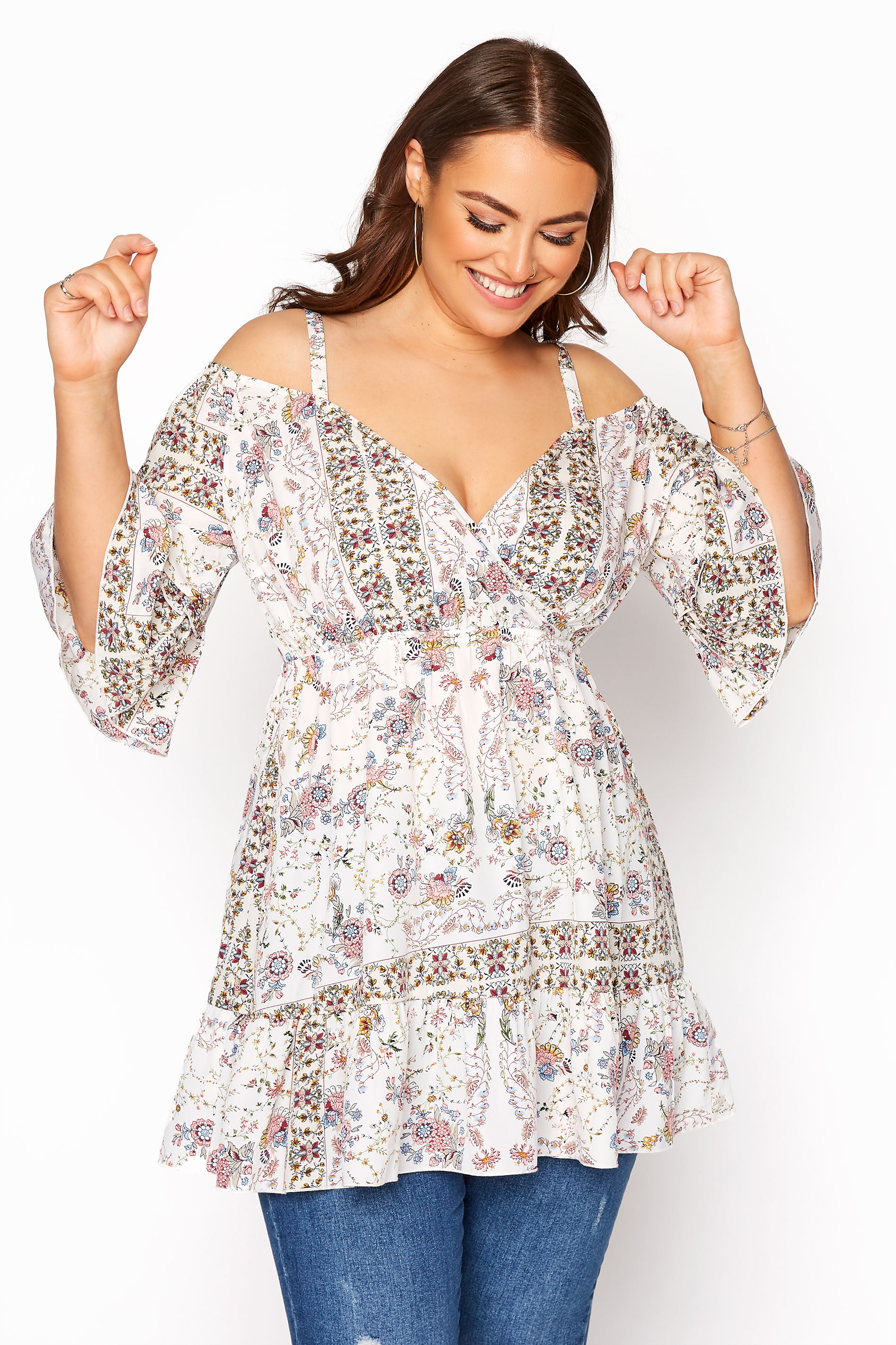 LIMITED COLLECTION White Cold Shoulder Frill Paisley Top