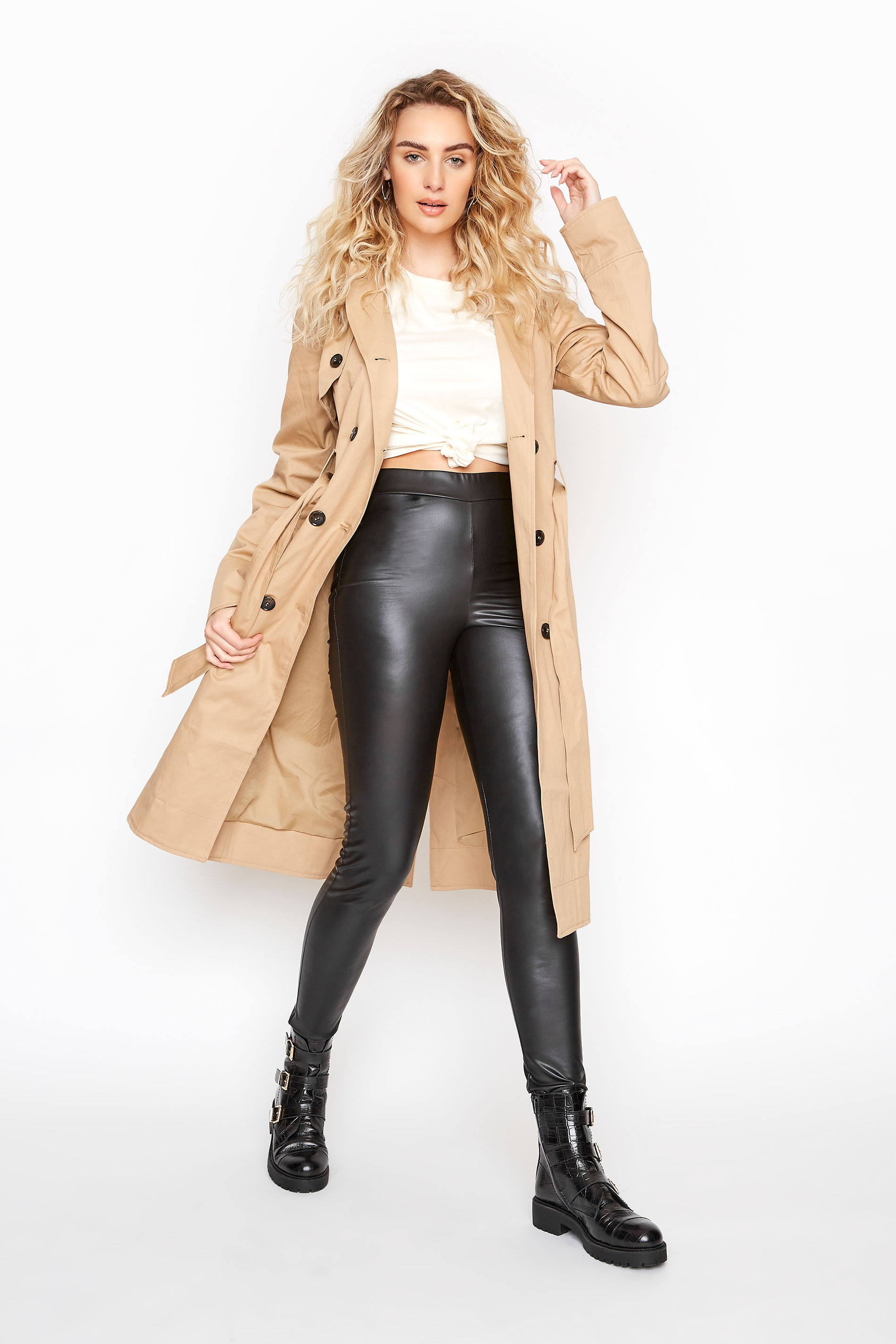 LTS Black Leather Look Leggings