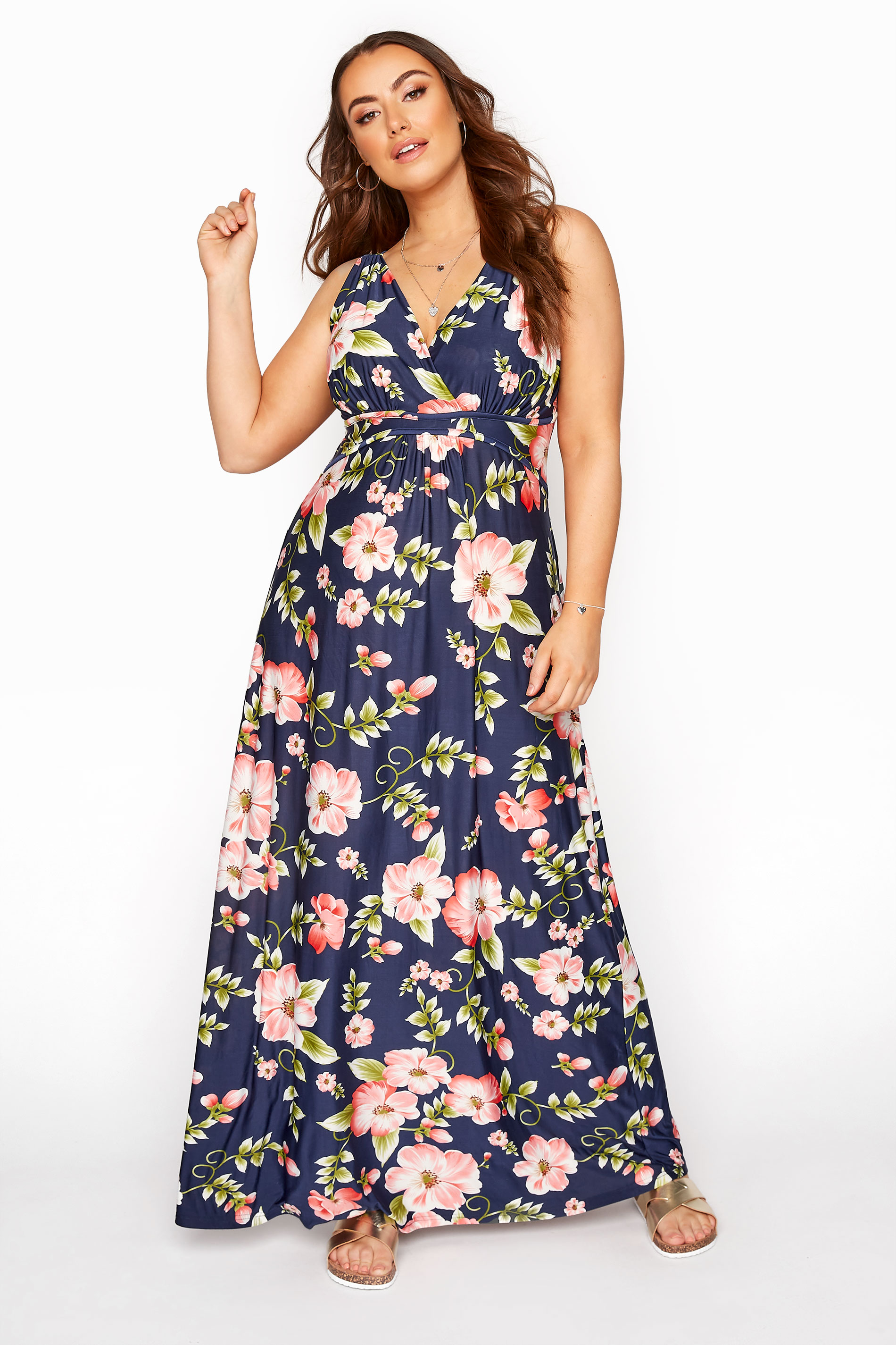 Marineblaues Maxi Kleid mit floralem Print