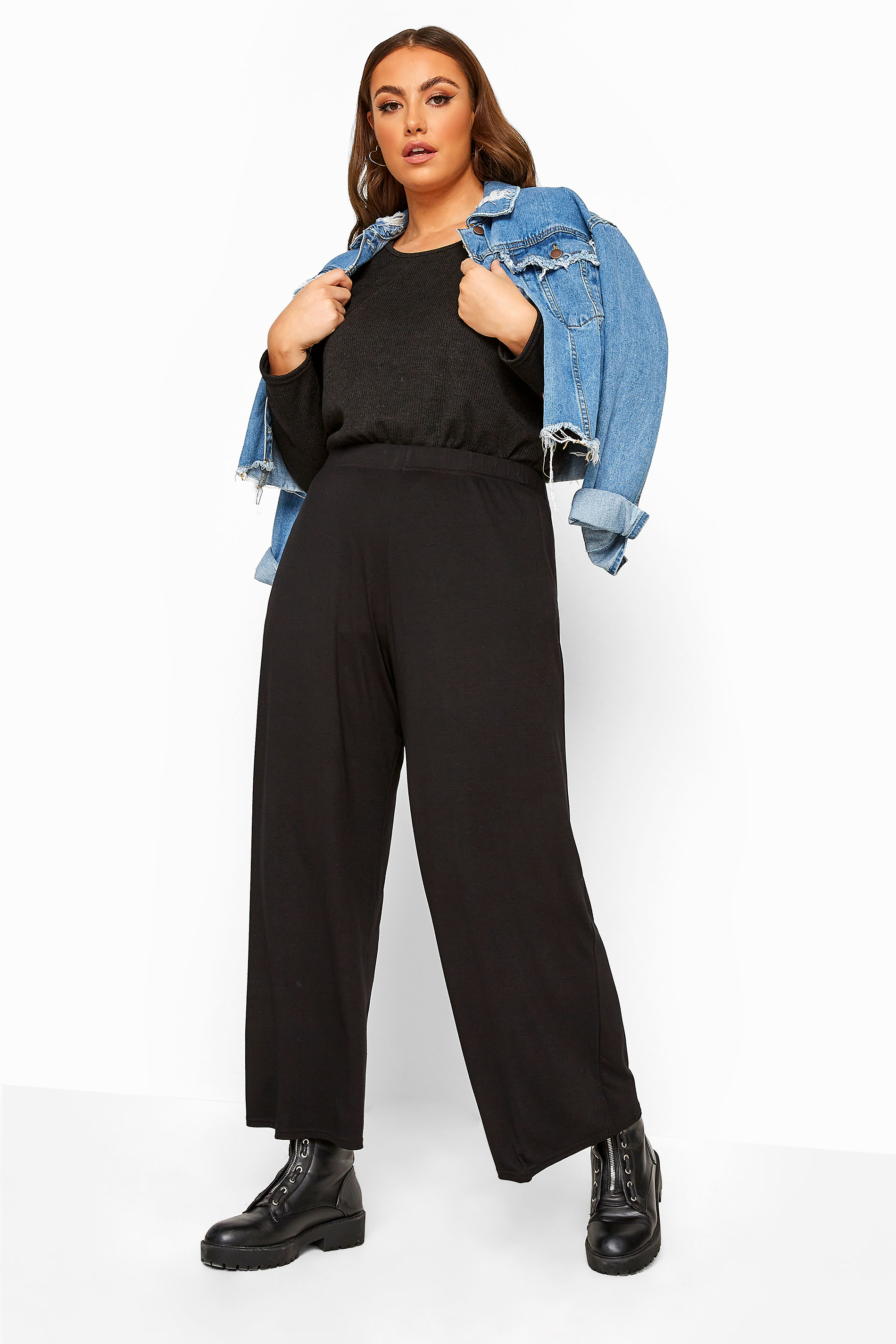 LIMITED COLLECTION Black Jersey Wide Leg Trousers