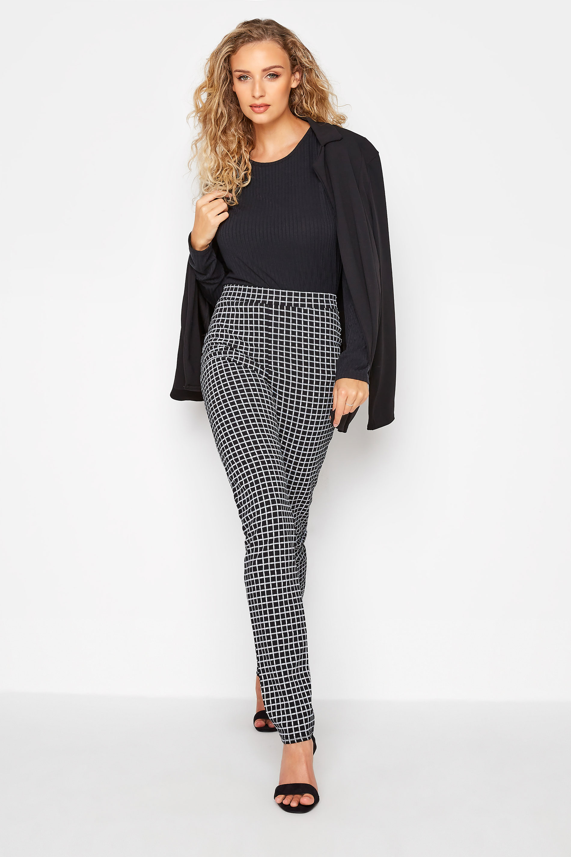 LTS Black Check Slim Leg Trousers_B.jpg