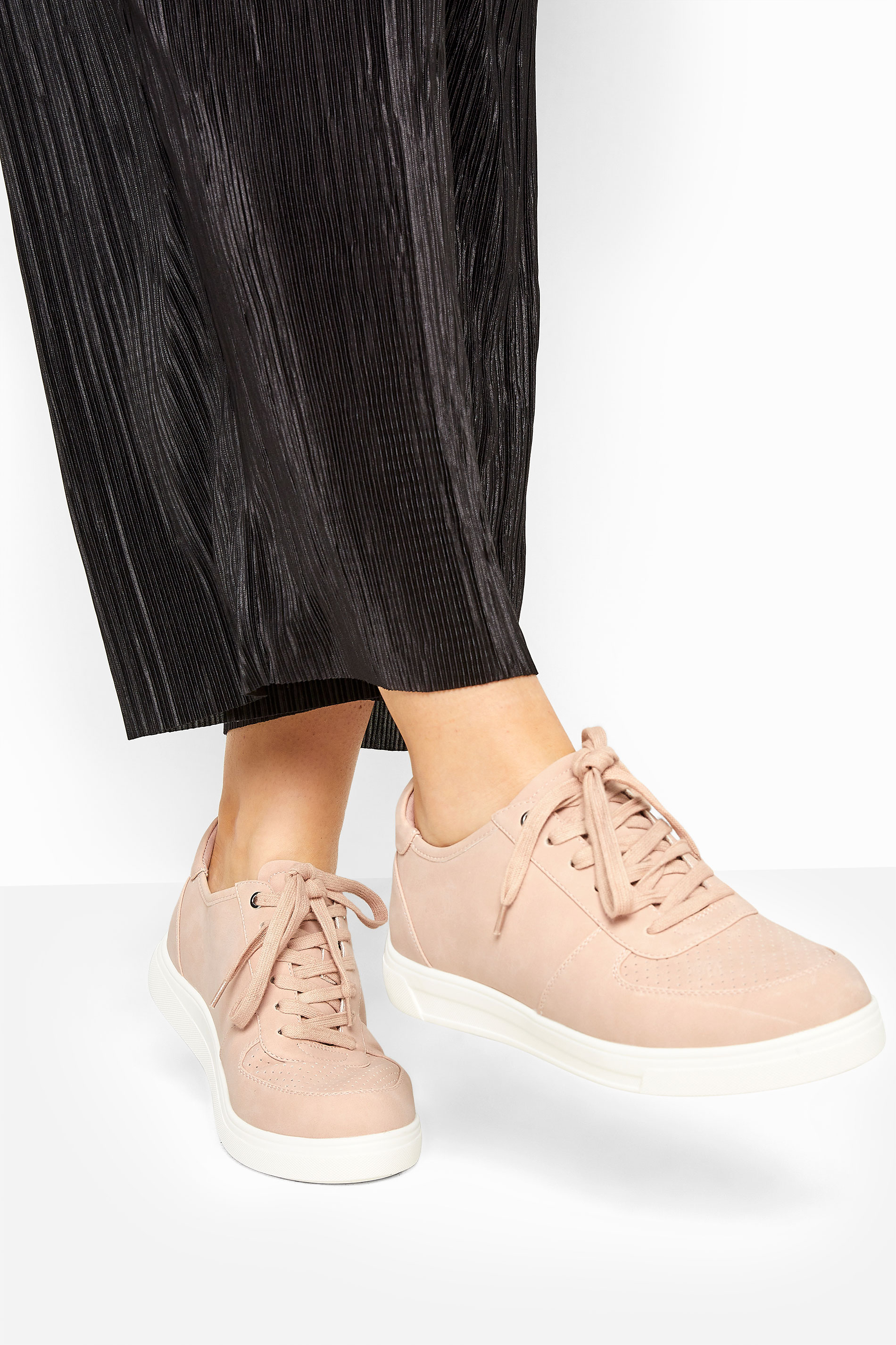 Yours Pink Vegan Leather Lace Up Trainers In Extra Wide Fit