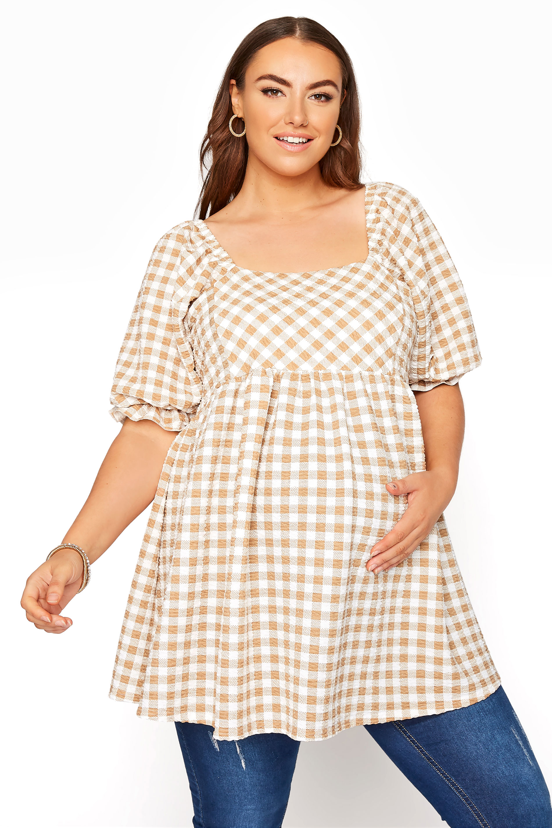 BUMP IT UP MATERNITY Ivory Gingham Square Neck Top_A.jpg