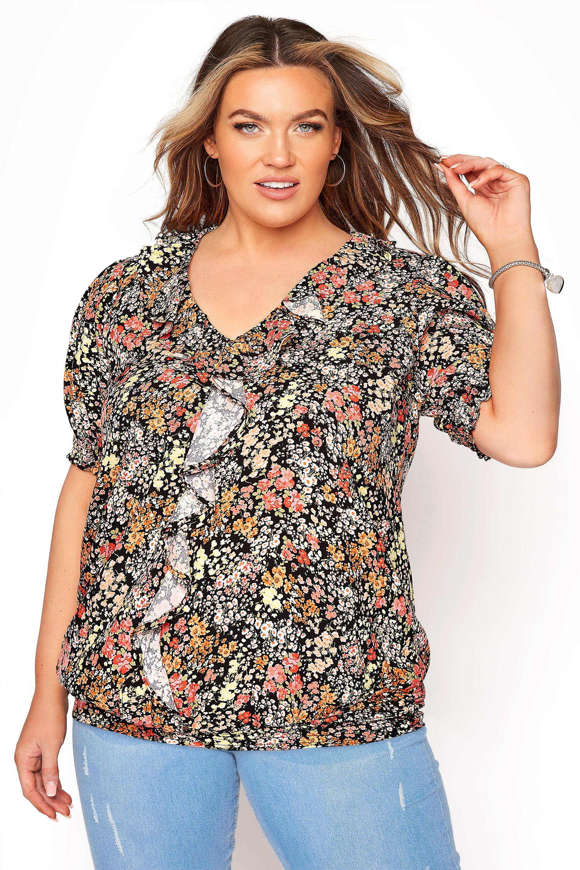 YOURS LONDON Black Floral Shirred Frill Top_A.jpg