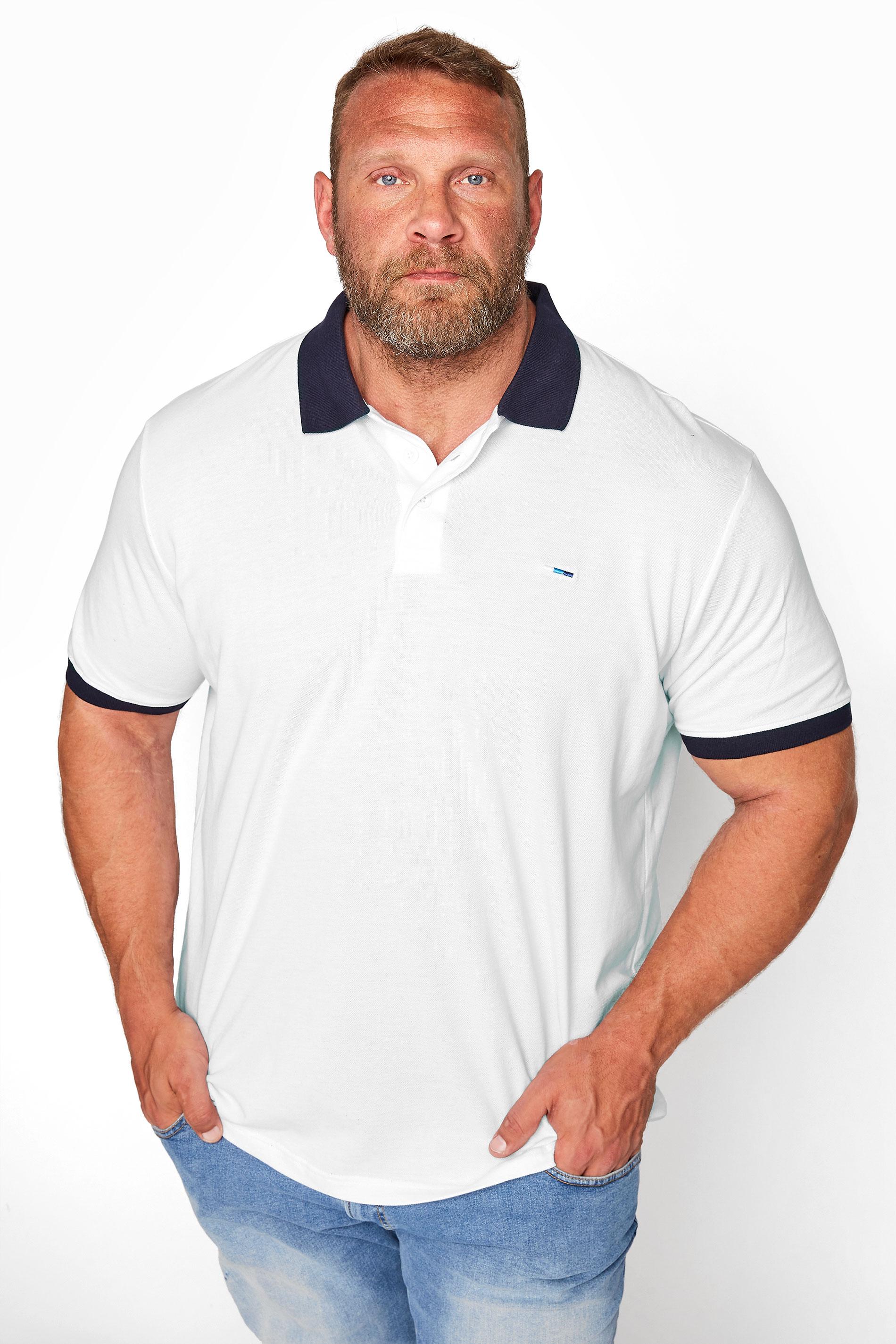 BadRhino White & Navy Contrast Polo Shirt