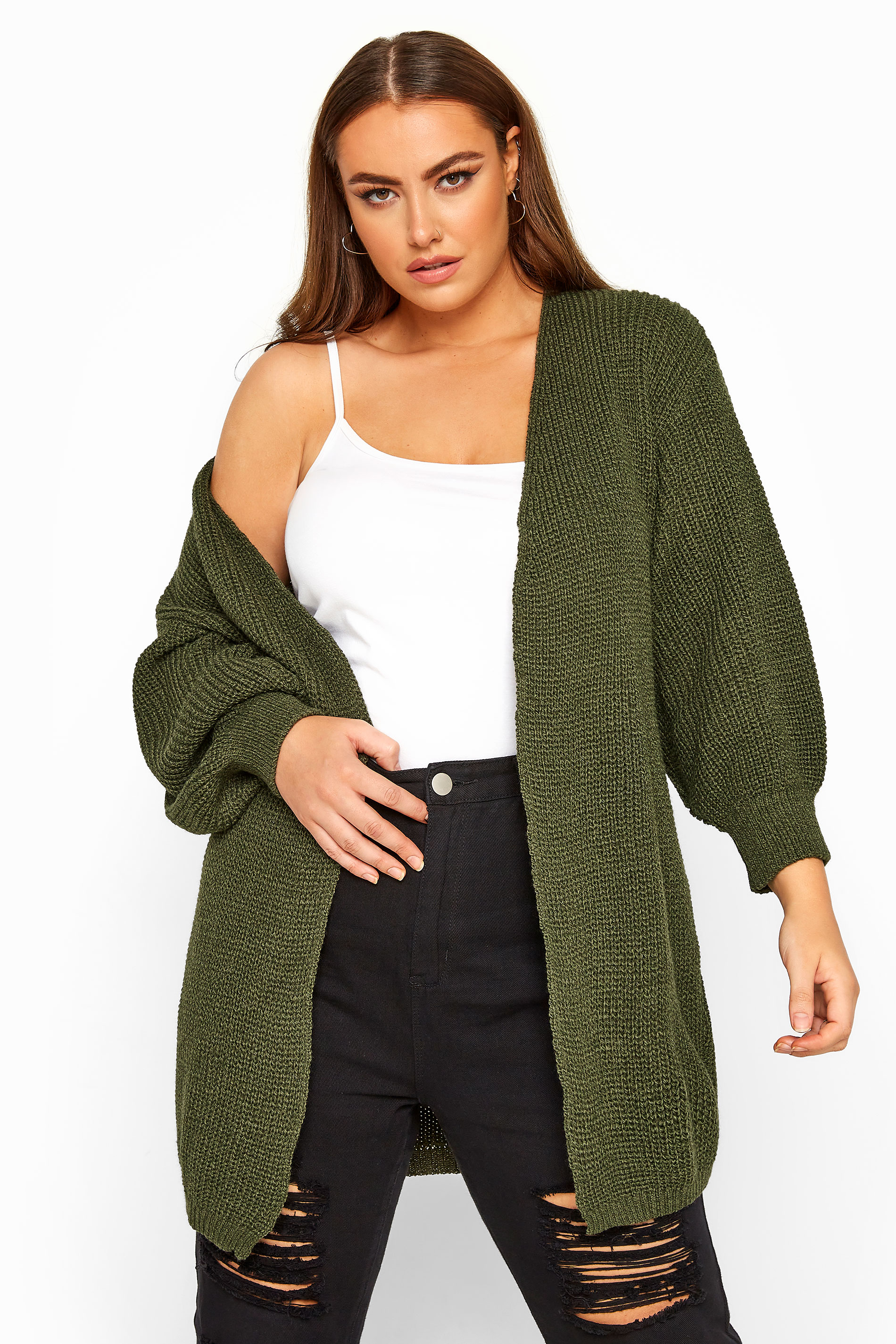 Khaki Oversized Balloon Sleeve Knitted Cardigan