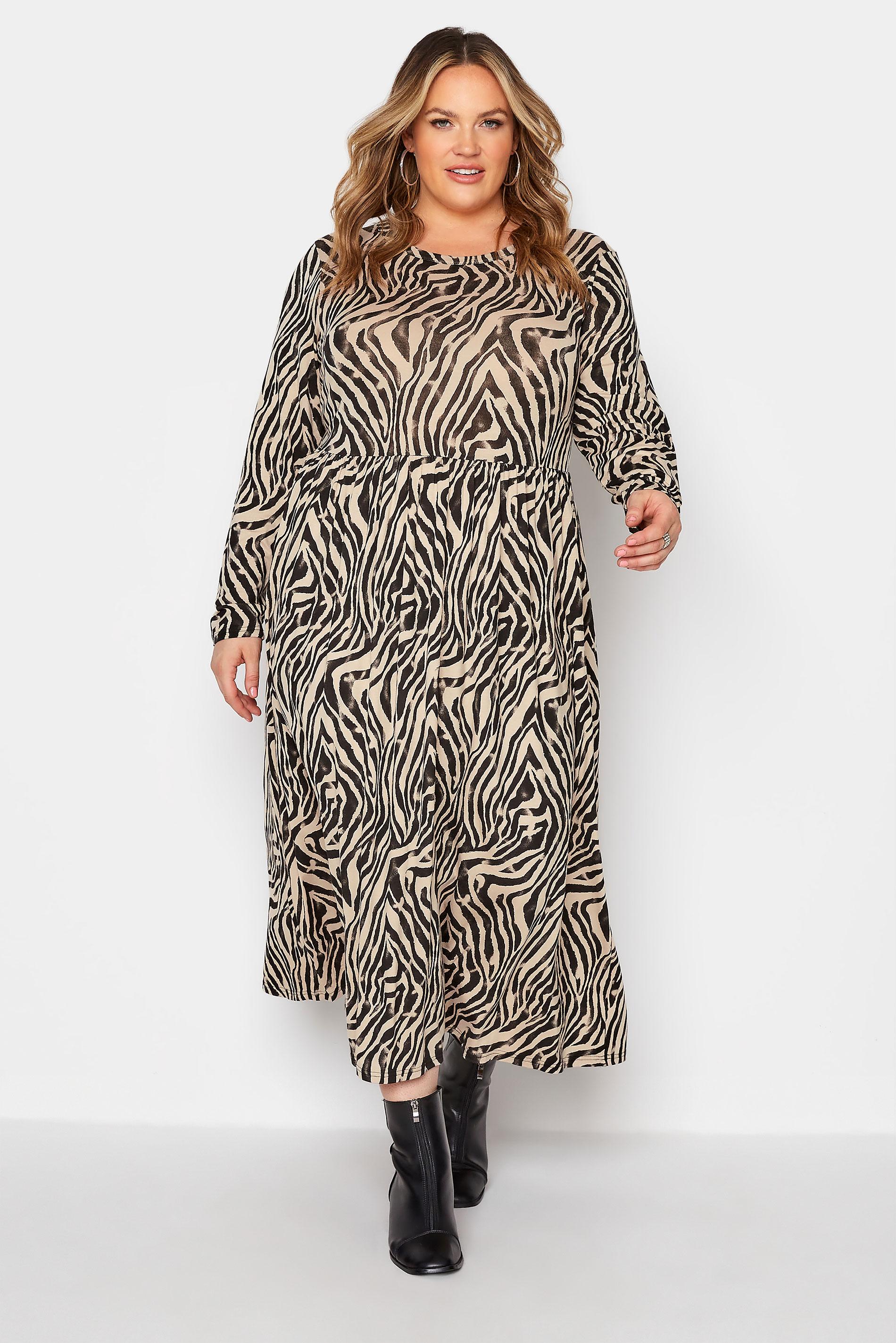 LIMITED COLLECTION Beige Zebra Print Smock Midaxi Dress_A.jpg