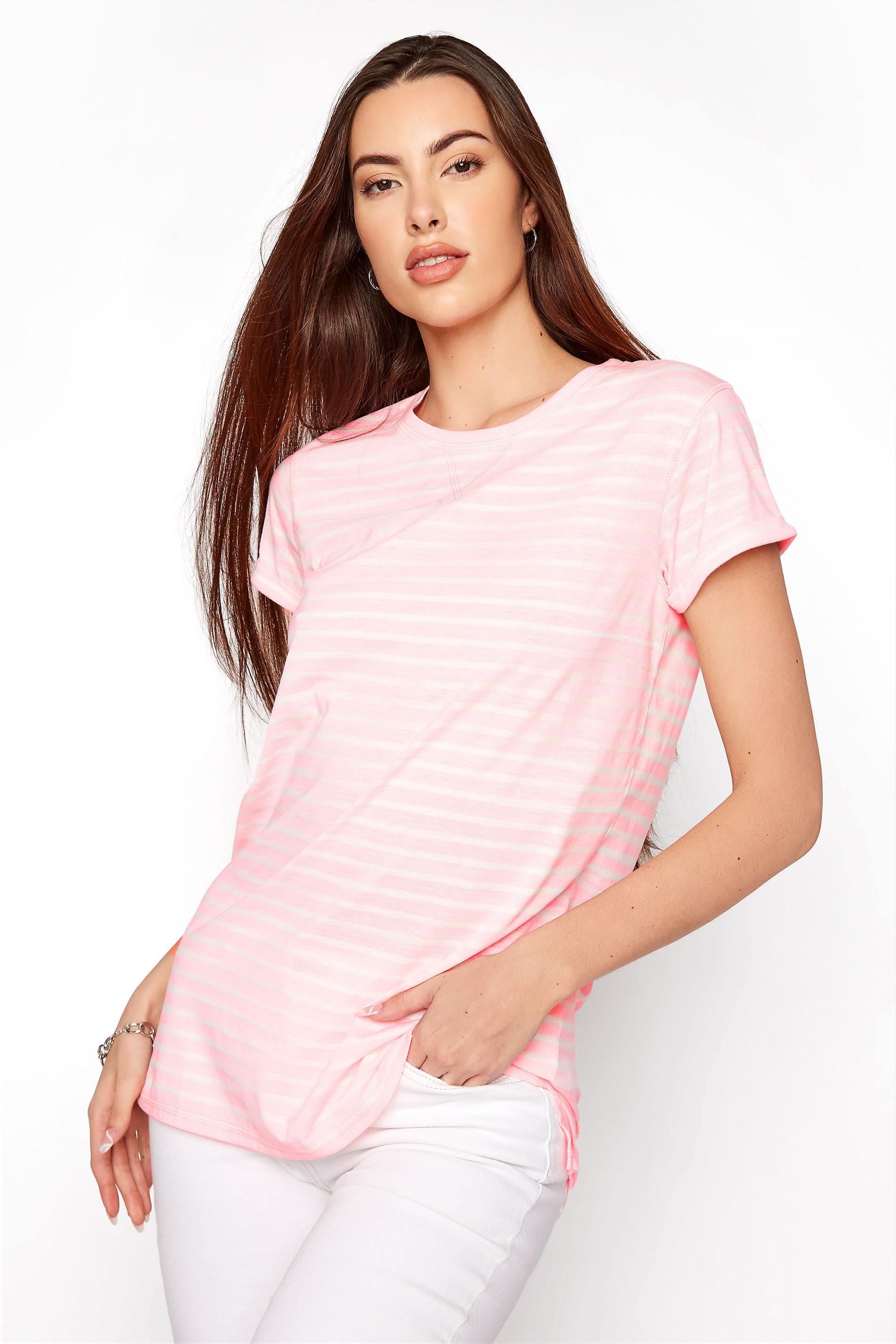 LTS Neon Pink Stripe T-Shirt