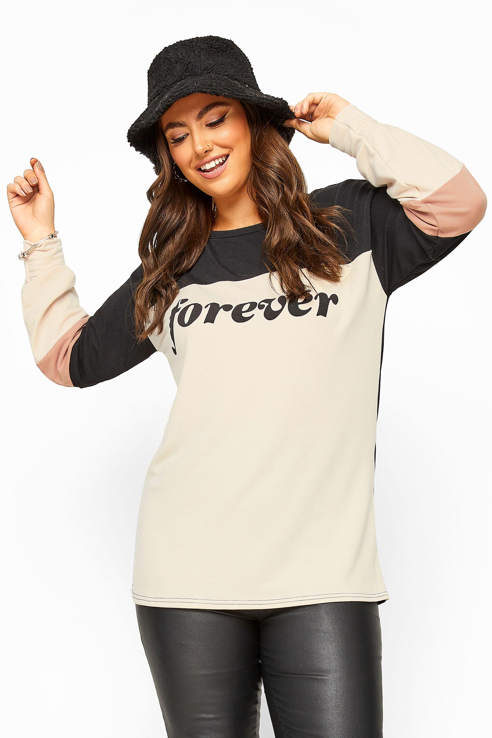 LIMITED COLLECTION - Sweatshirt met 'Forever' slogan in zwart-nude