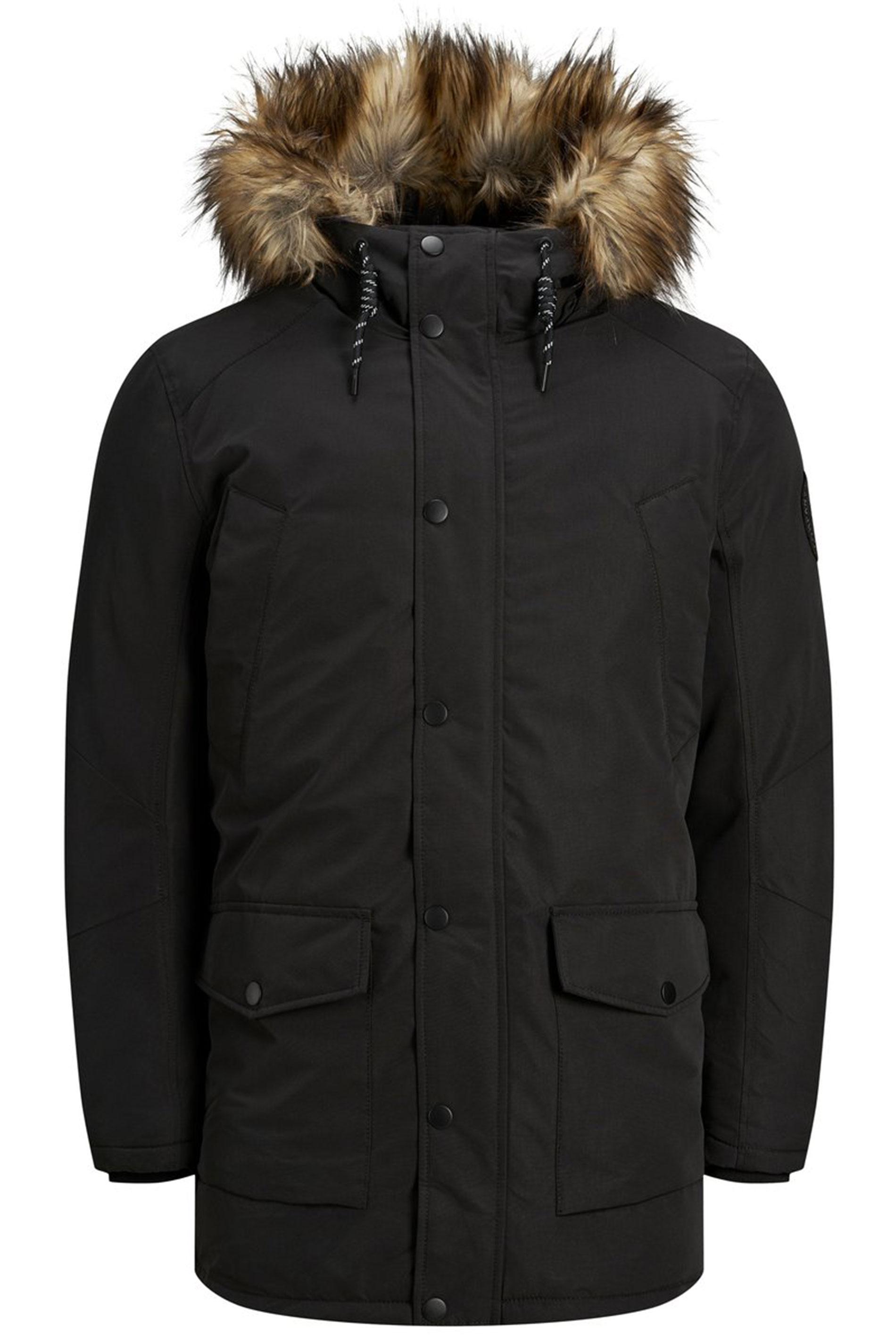 JACK & JONES Black Parka Coat