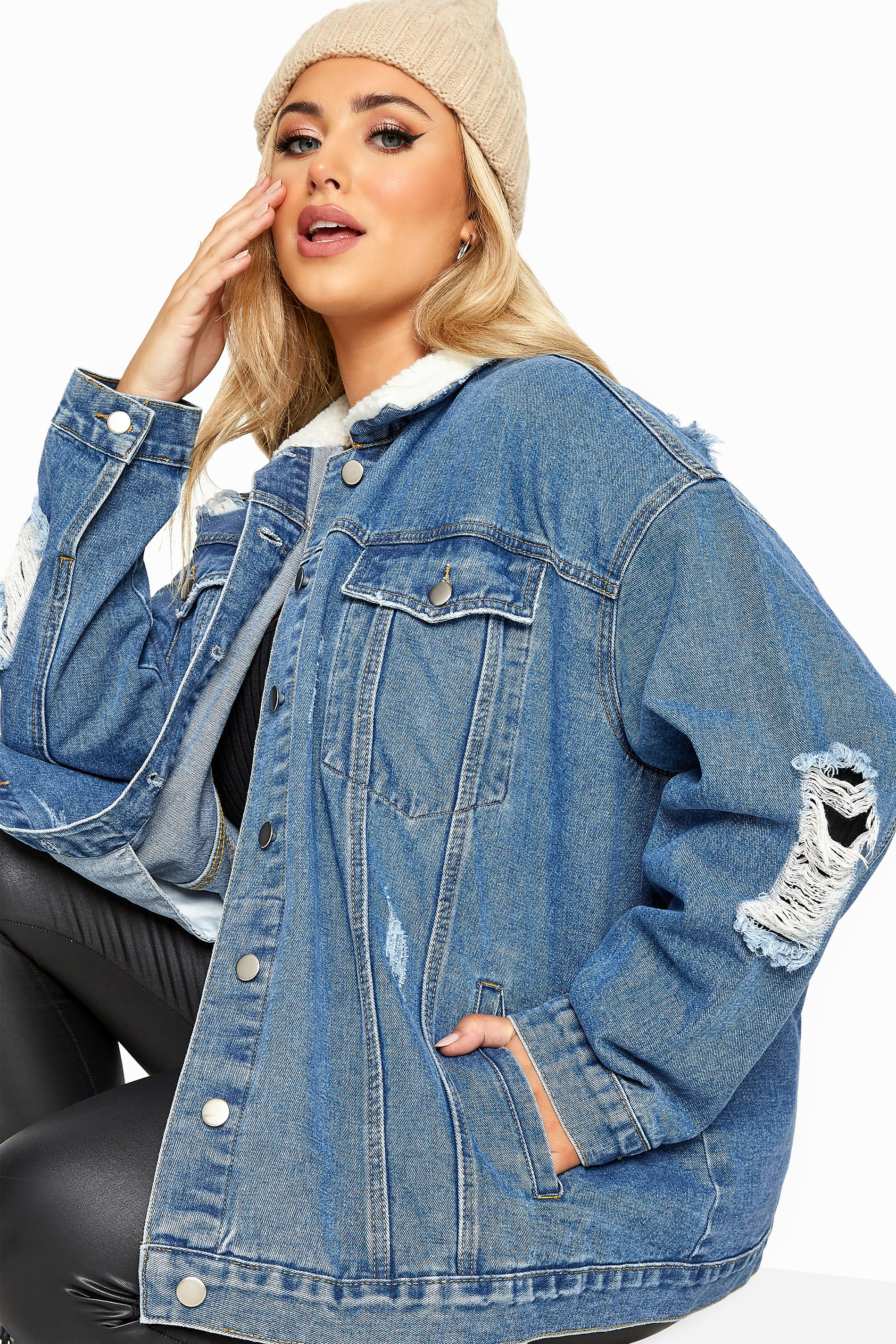Blue Distressed Teddy Collar Denim Jacket