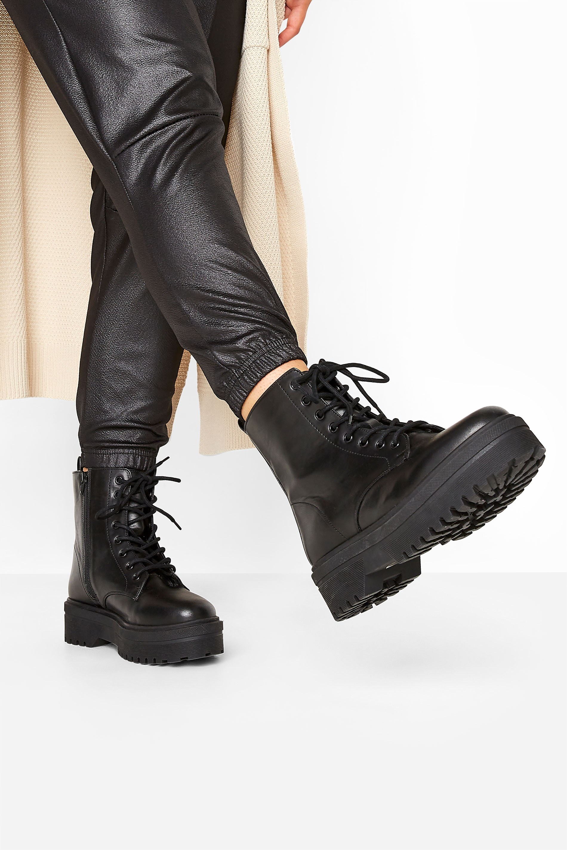 LIMITED COLLECTION Black Vegan Faux Leather Platform Lace Up Boots In Extra Wide Fit