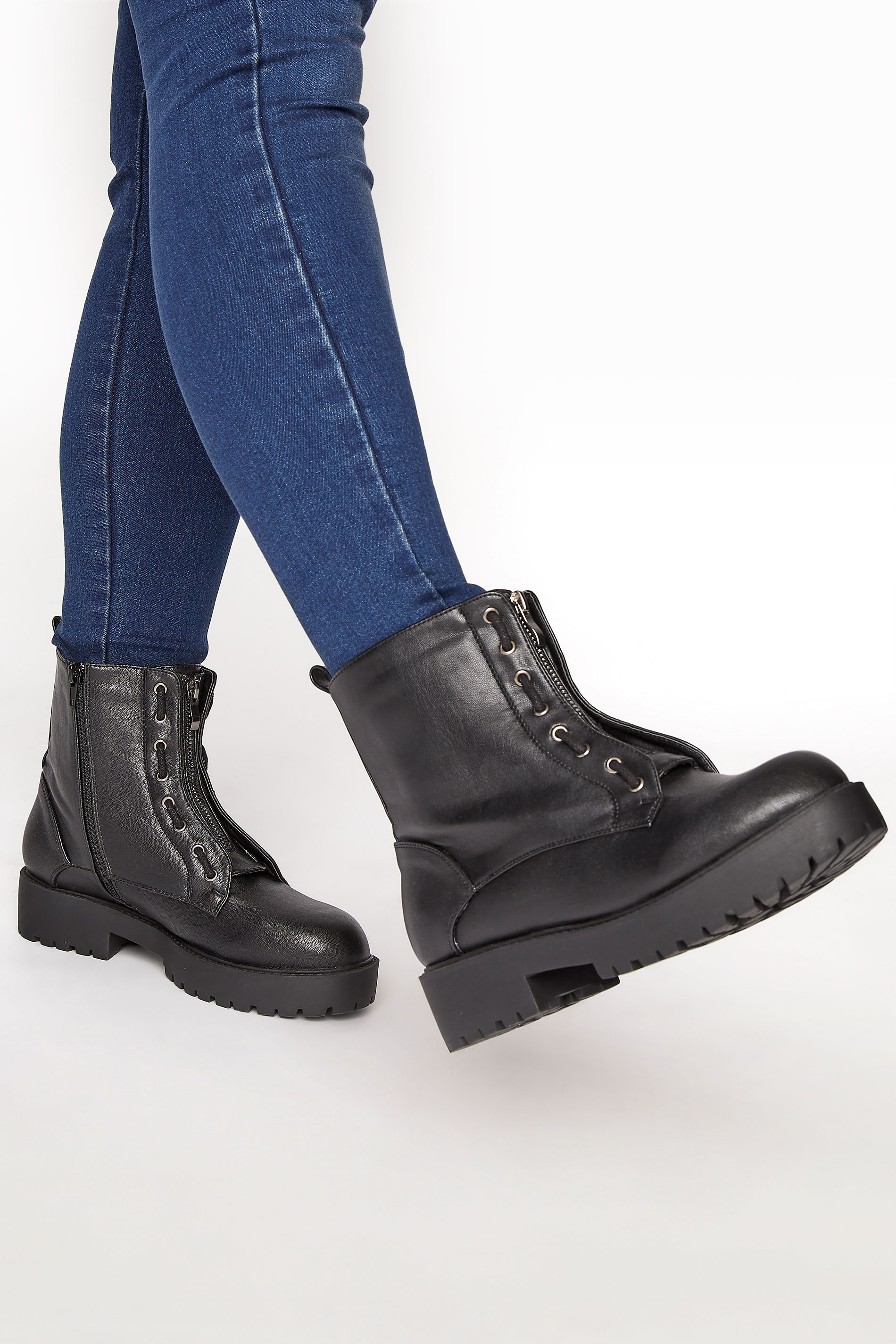 LIMITED COLLECTION Black Vegan Faux Leather Zip Chunky Boots In Wide Fit_M.jpg