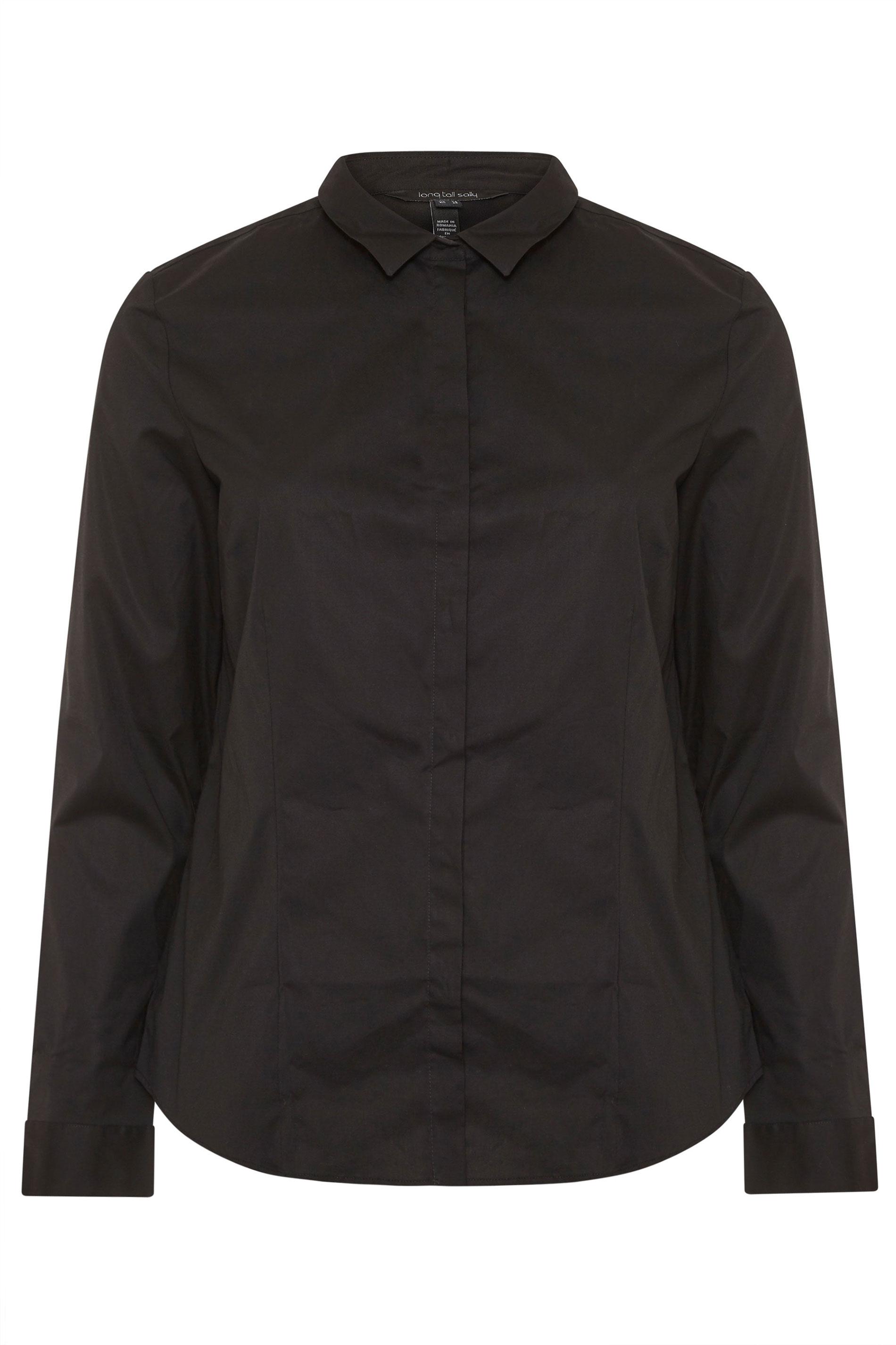 Black Cotton Stretch Work Shirt
